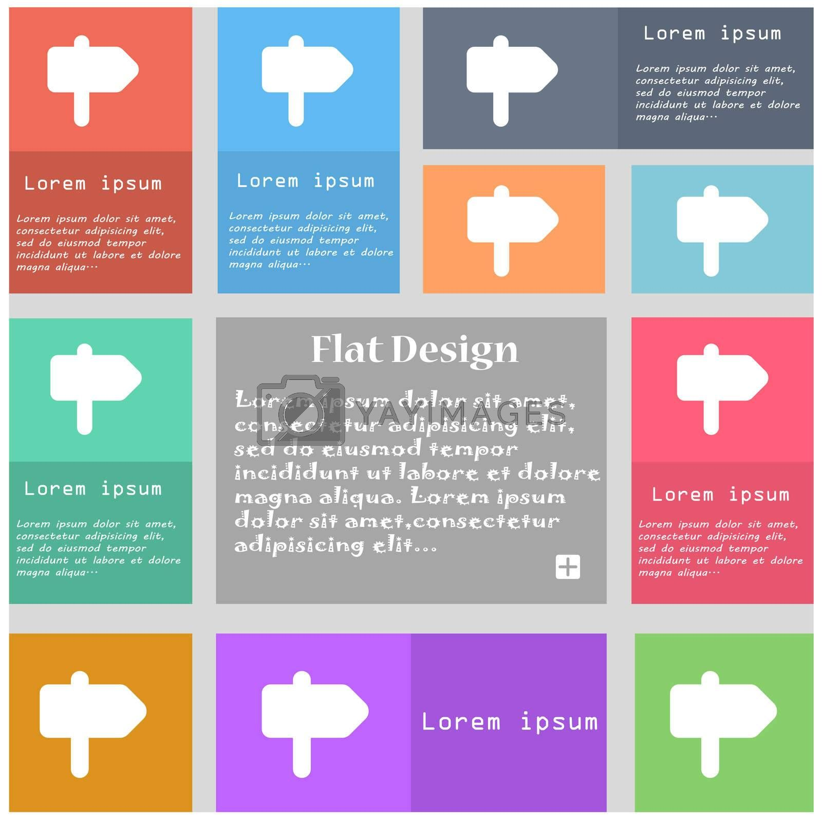 Information Road icon sign. Set of multicolored buttons with space for text.  by Serhii Lohvyniuk