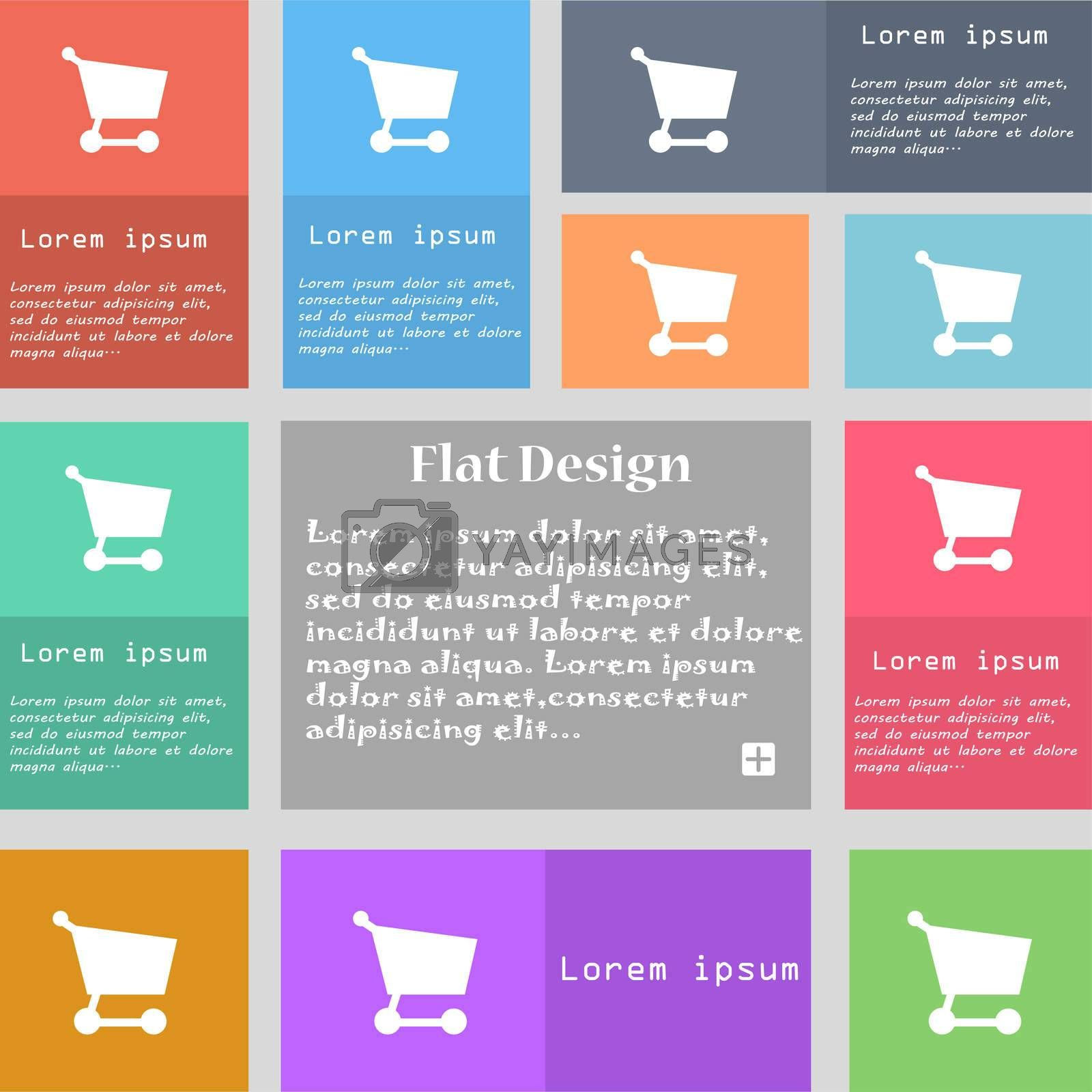 Shopping basket icon sign. Set of multicolored buttons. Metro style with space for text. The Long Shadow  by Serhii Lohvyniuk
