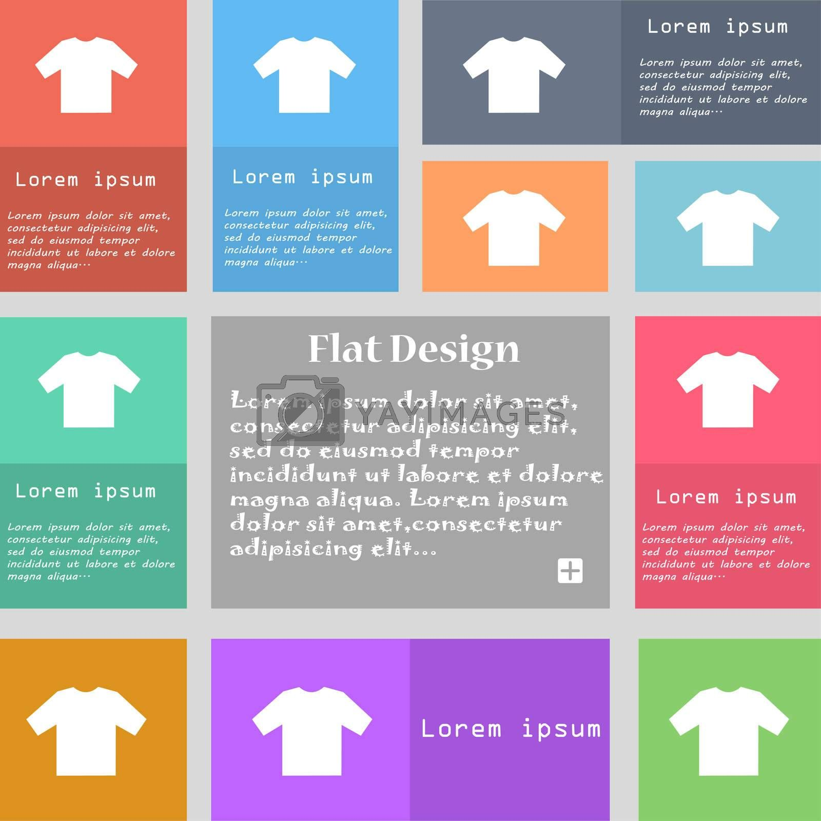 t-shirt icon sign. Set of multicolored buttons with space for text.  by Serhii Lohvyniuk