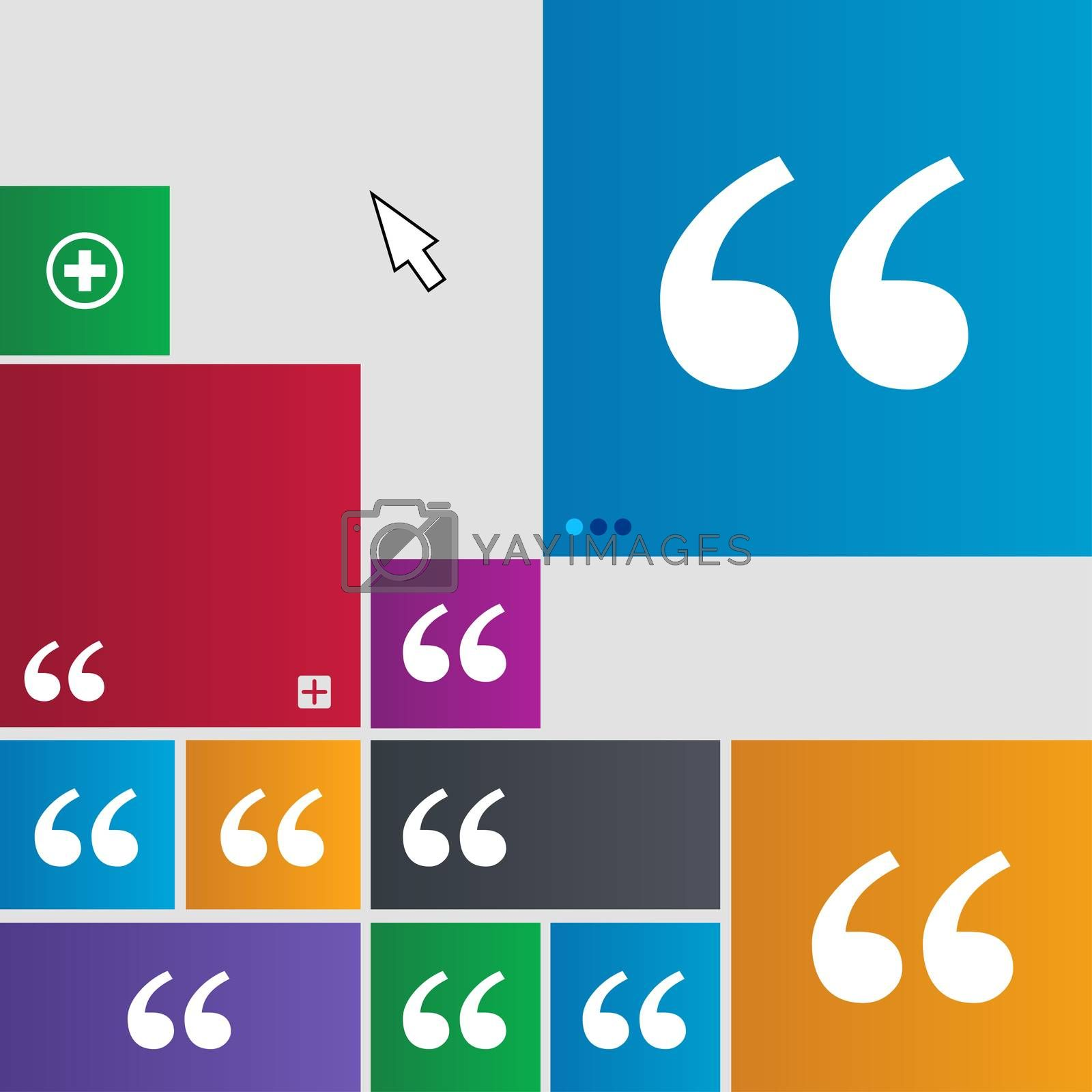 Double quotes at the beginning of words icon sign. Metro style buttons. Modern interface website buttons with cursor pointer.  by Serhii Lohvyniuk