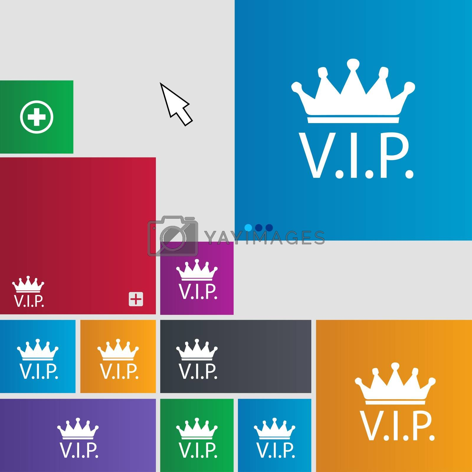Vip sign icon. Membership symbol. Very important person. Set of colored buttons.  by Serhii Lohvyniuk