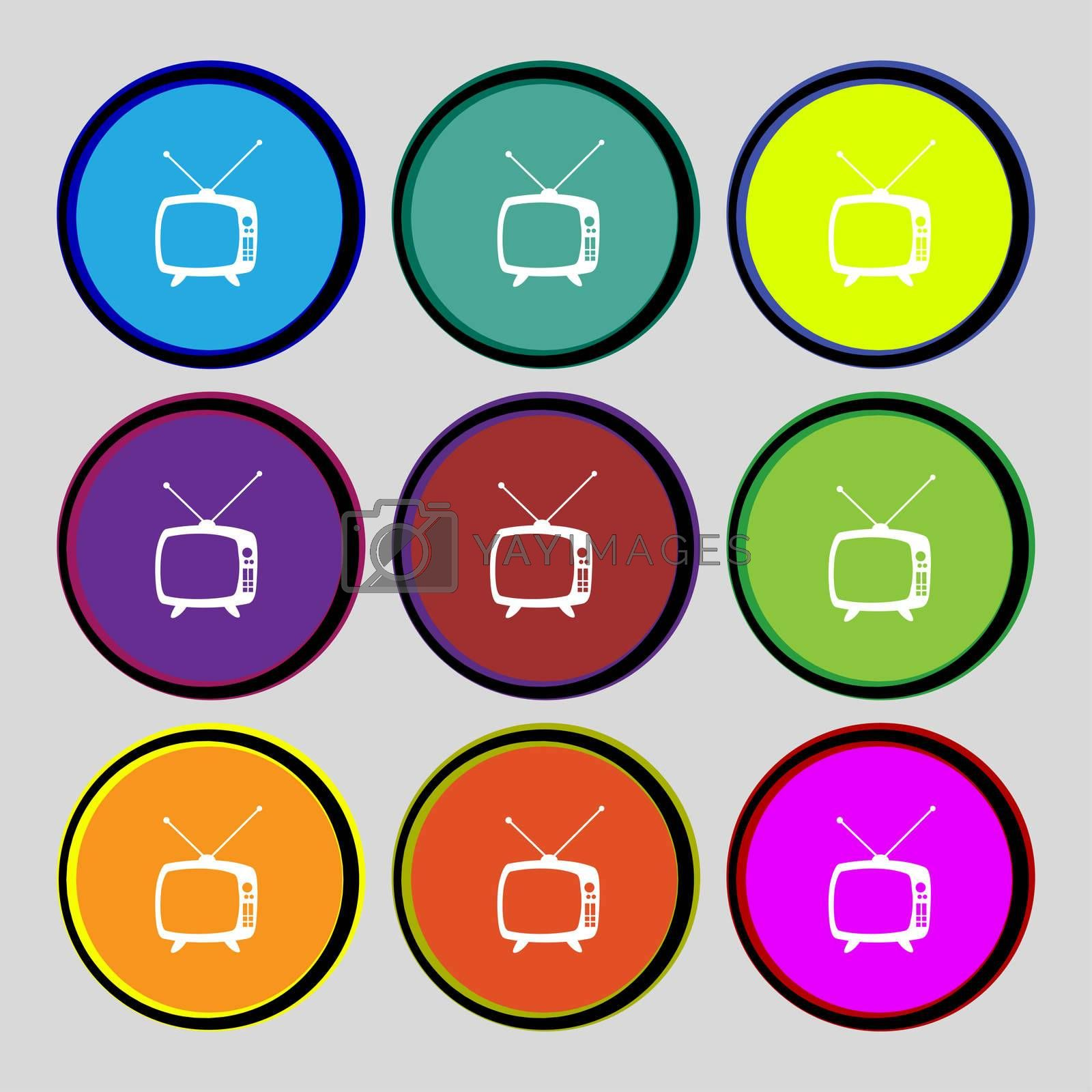 Retro TV mode sign icon. Television set symbol. Set colourful buttons. Hand cursor pointer  by Serhii Lohvyniuk