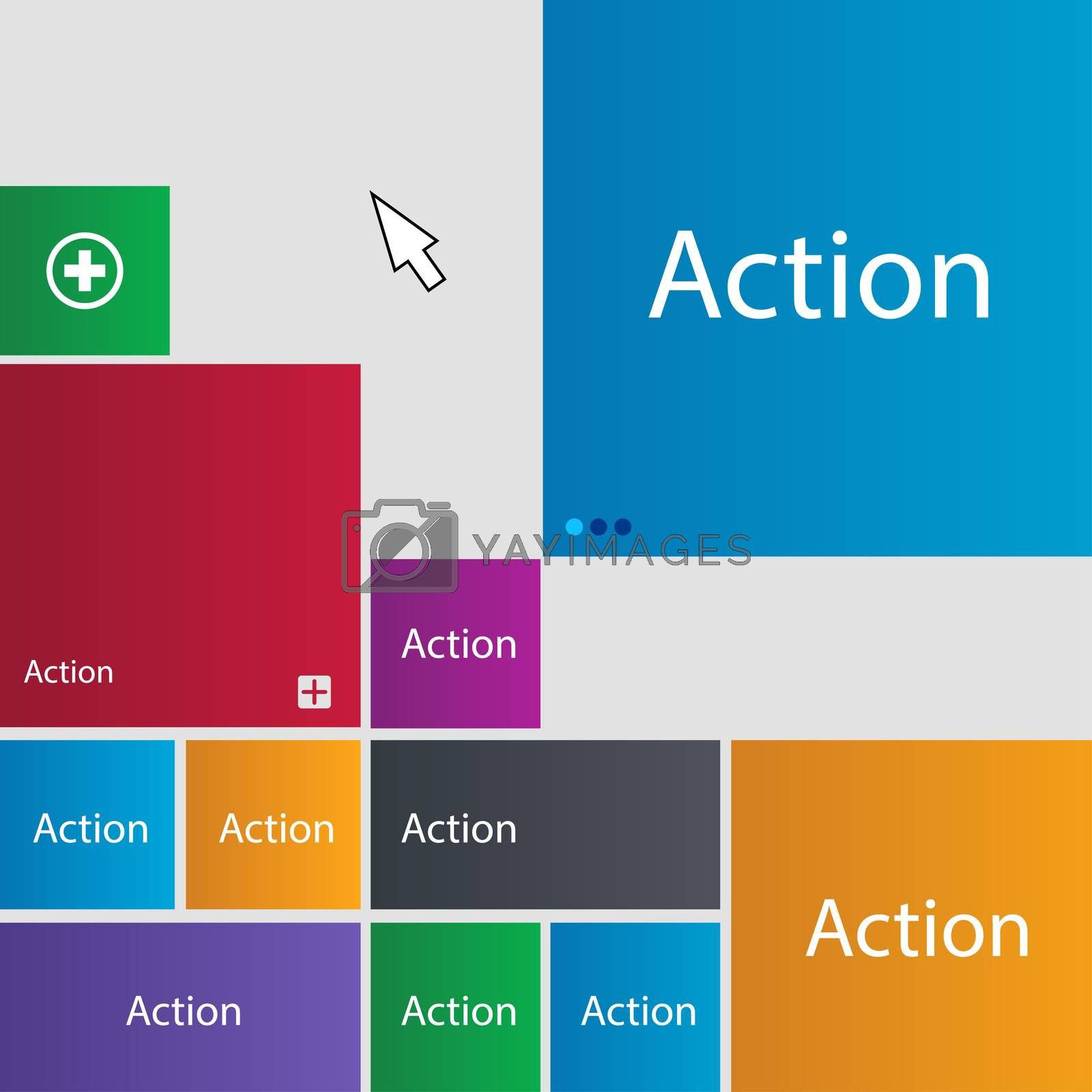 Action sign icon. Motivation button with arrow. Set of colored buttons.  by Serhii Lohvyniuk