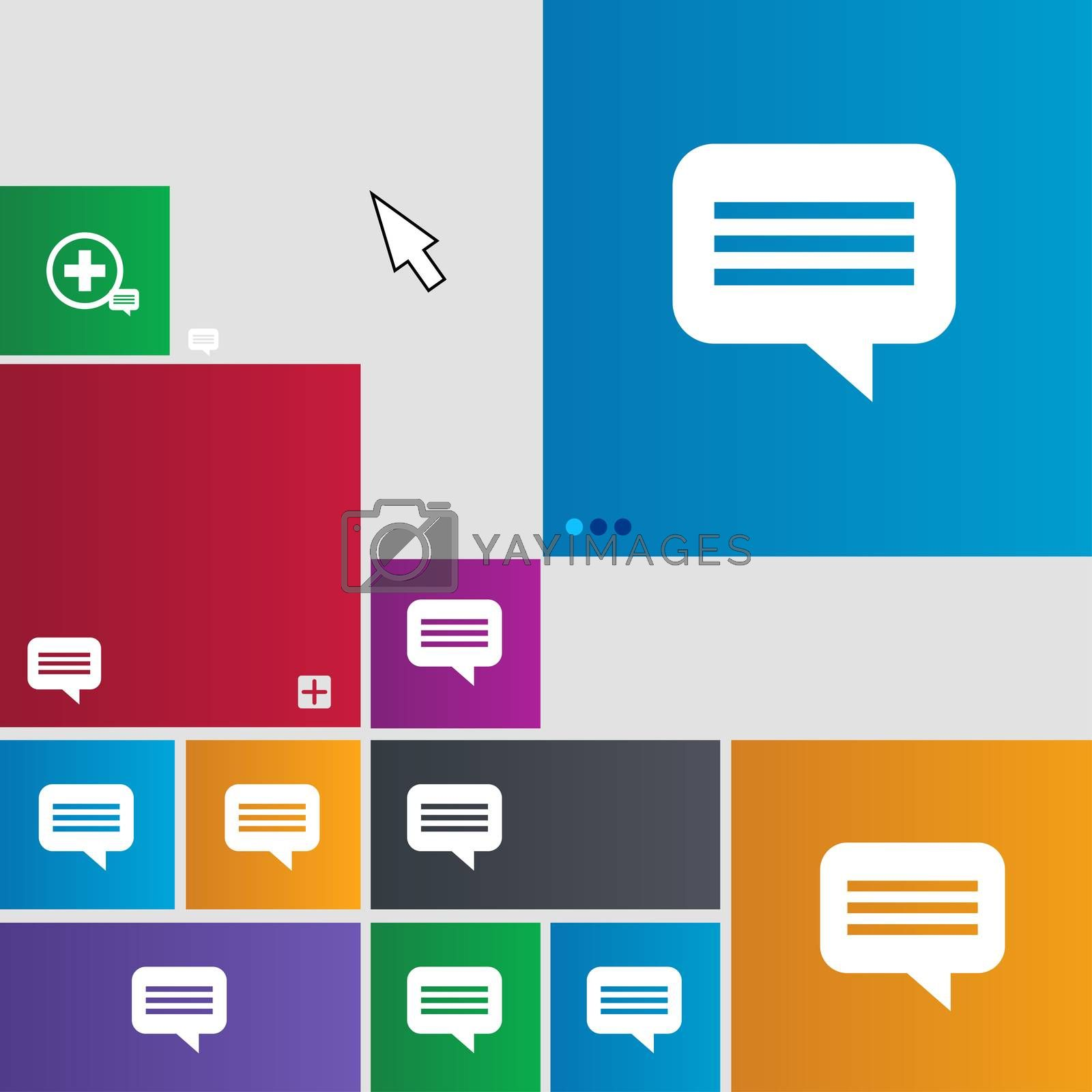 speech bubble, Chat think icon sign. Metro style buttons. Modern interface website buttons with cursor pointer.  by Serhii Lohvyniuk