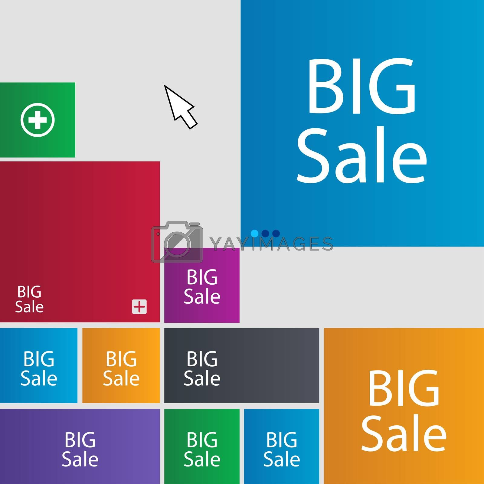Big sale sign icon. Special offer symbol. Set of colored buttons.  by Serhii Lohvyniuk