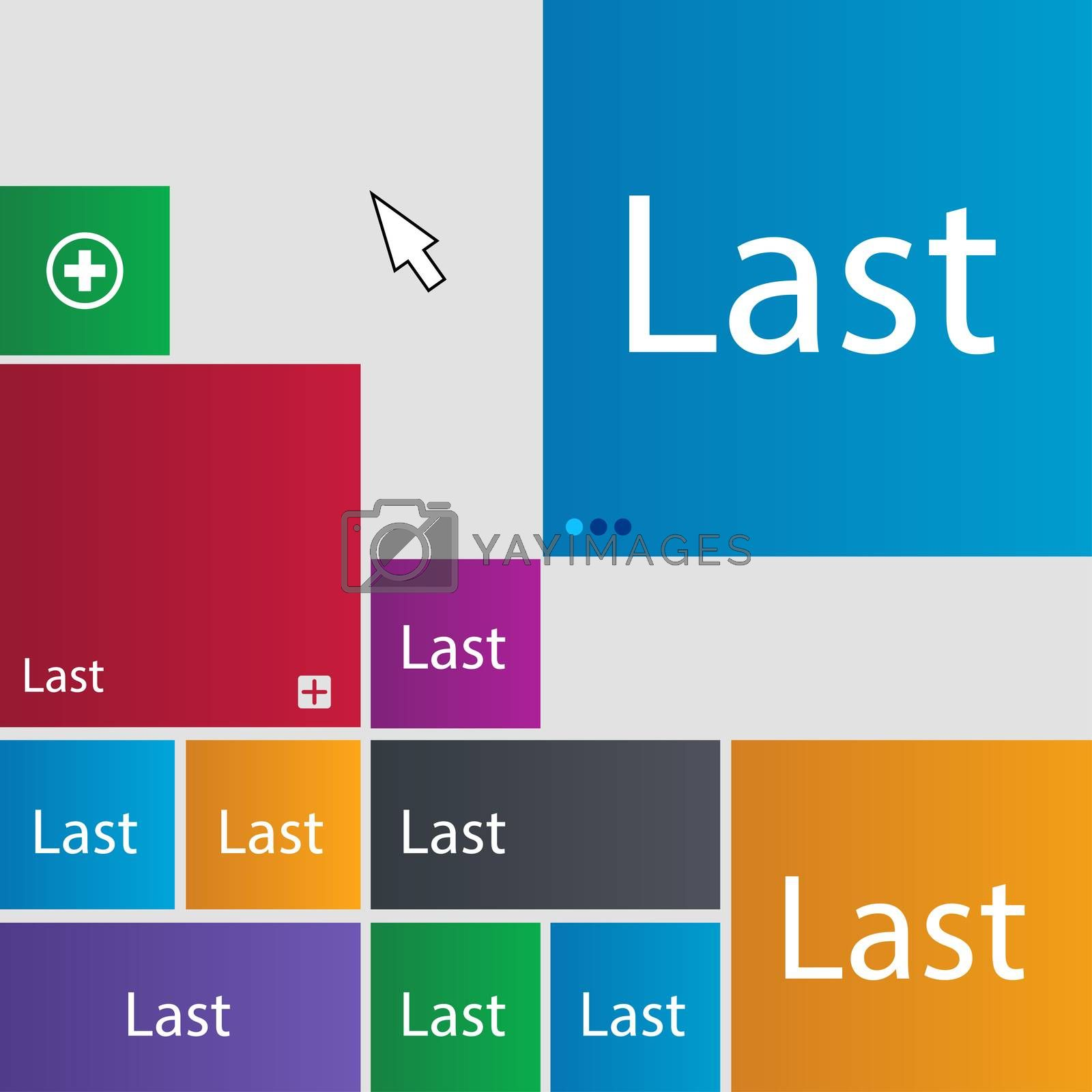 Last sign icon. Navigation symbol. Set of colored buttons.  by Serhii Lohvyniuk