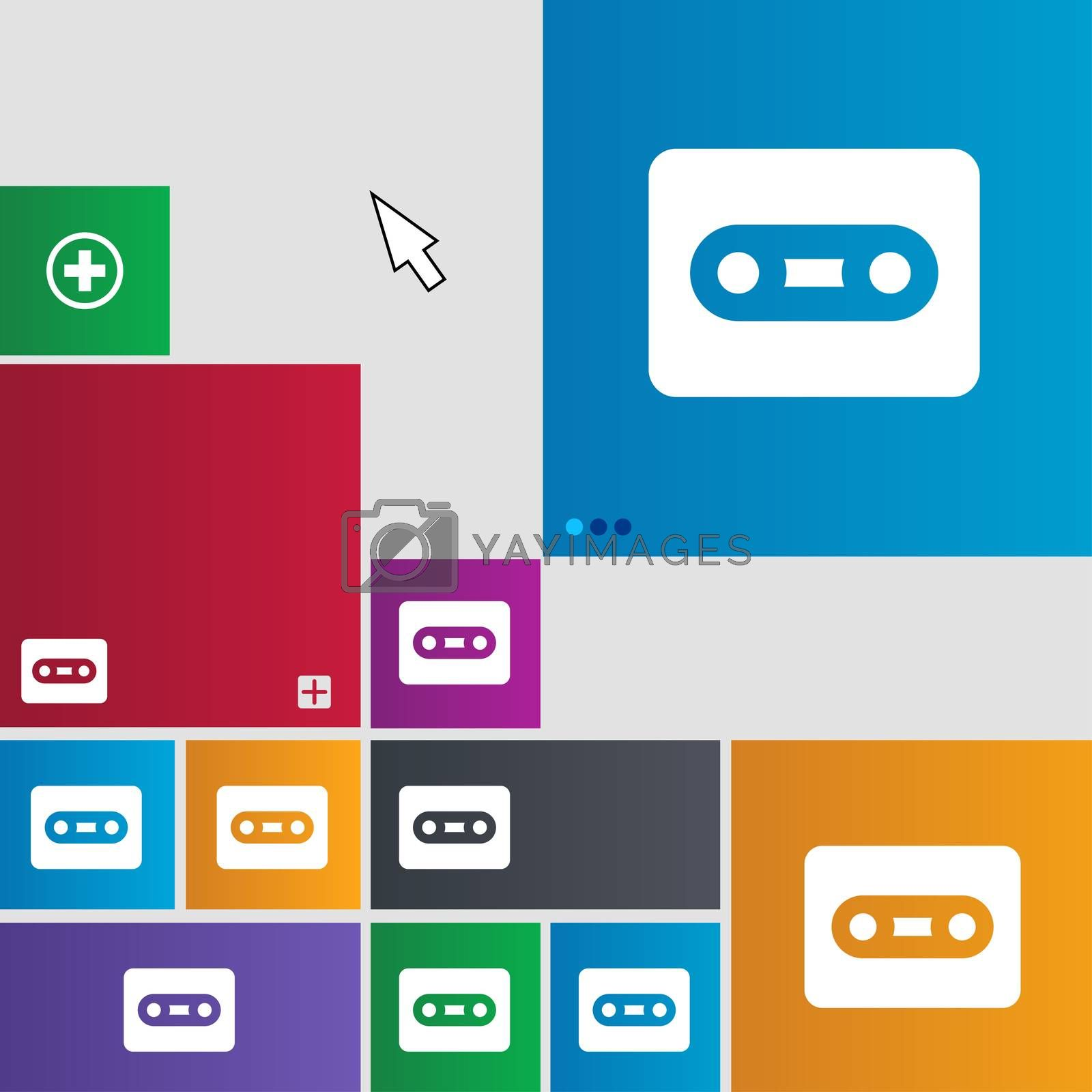 Cassette icon sign. buttons. Modern interface website buttons with cursor pointer.  by Serhii Lohvyniuk