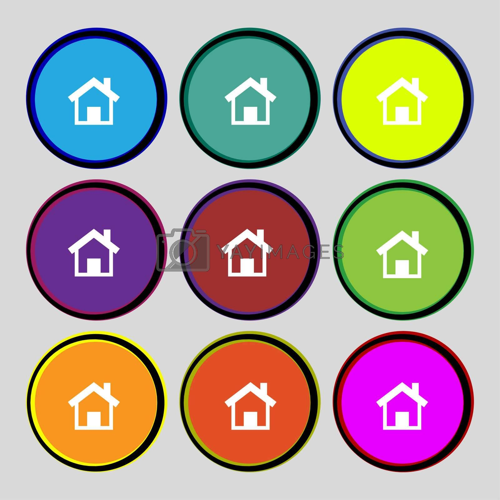 Home sign icon. Main page button. Navigation symbol.Set colourful buttons  by Serhii Lohvyniuk