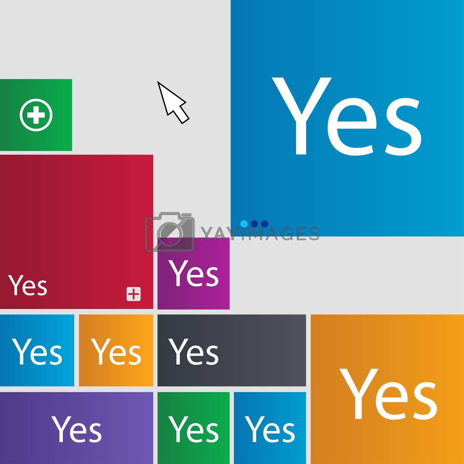 Yes sign icon. Positive check symbol. Set of colored buttons.  by Serhii Lohvyniuk