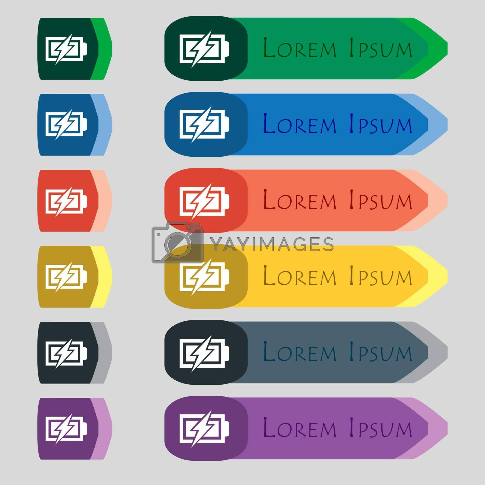 Battery charging sign icon. Lightning symbol. Set of colour buttons. Modern interface website button  by Serhii Lohvyniuk