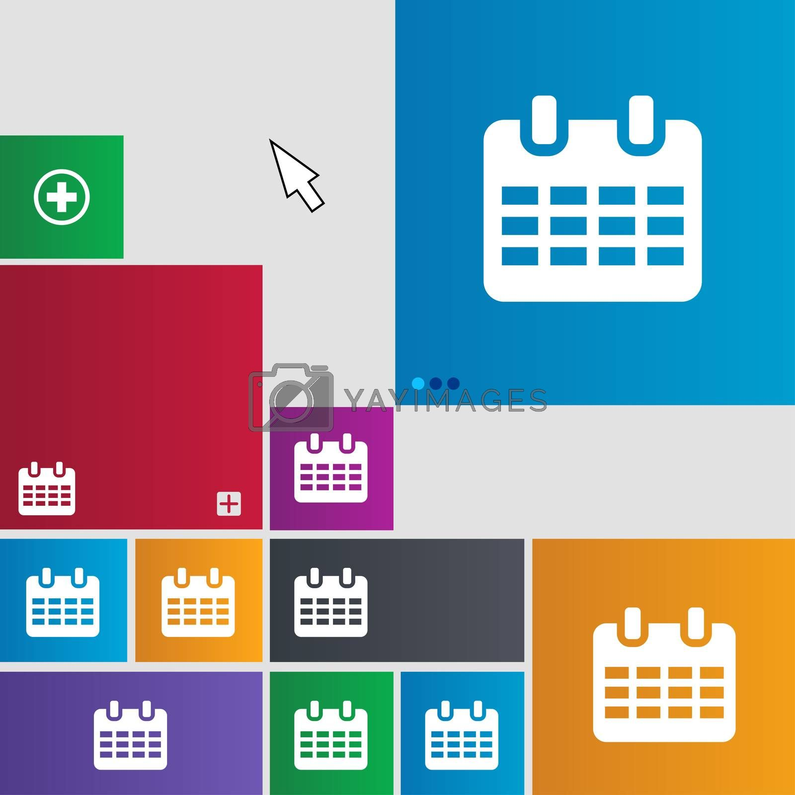 Calendar, Date or event reminder icon sign. Metro style buttons. Modern interface website buttons with cursor pointer.  by Serhii Lohvyniuk