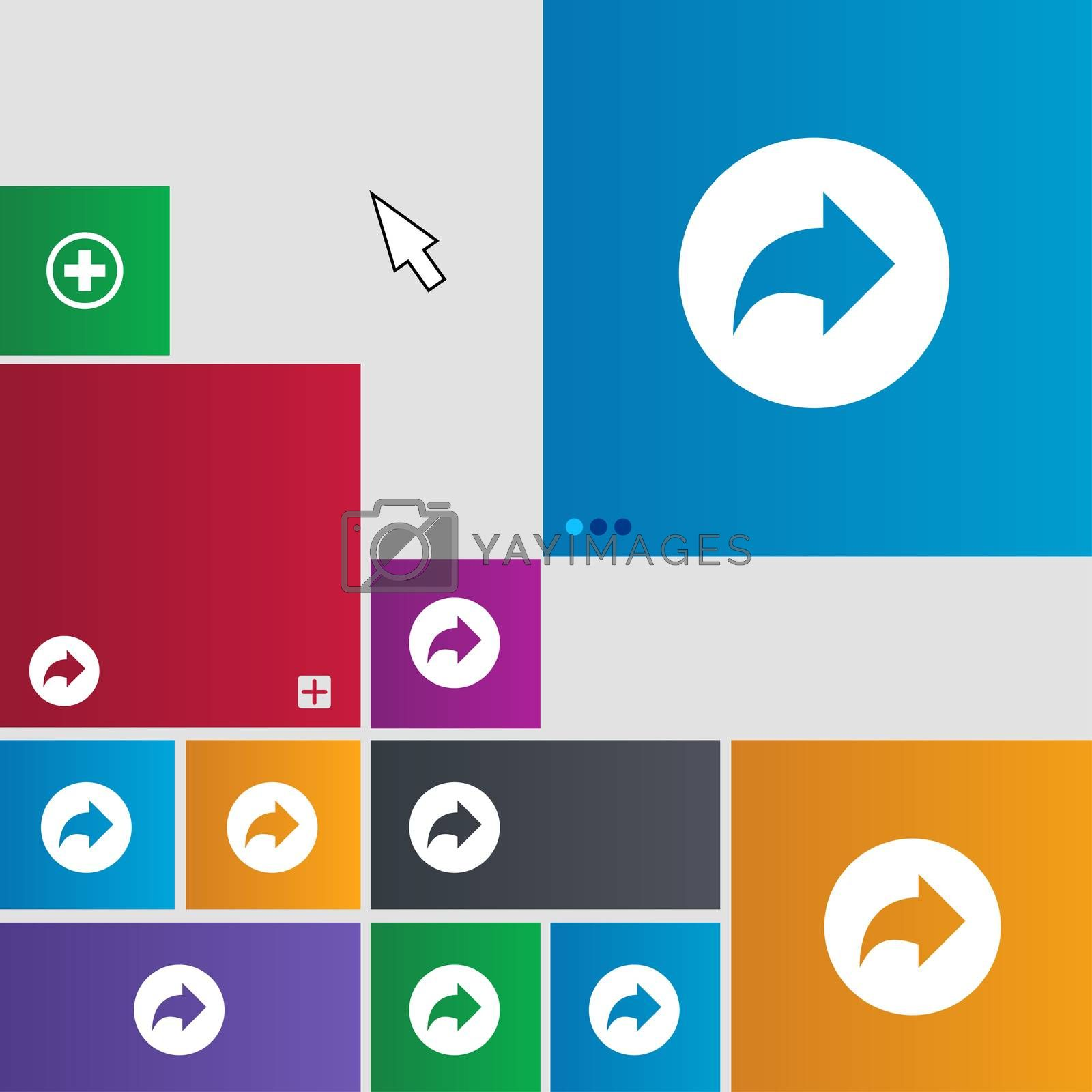 Arrow right, Next icon sign. Metro style buttons. Modern interface website buttons with cursor pointer.  by Serhii Lohvyniuk