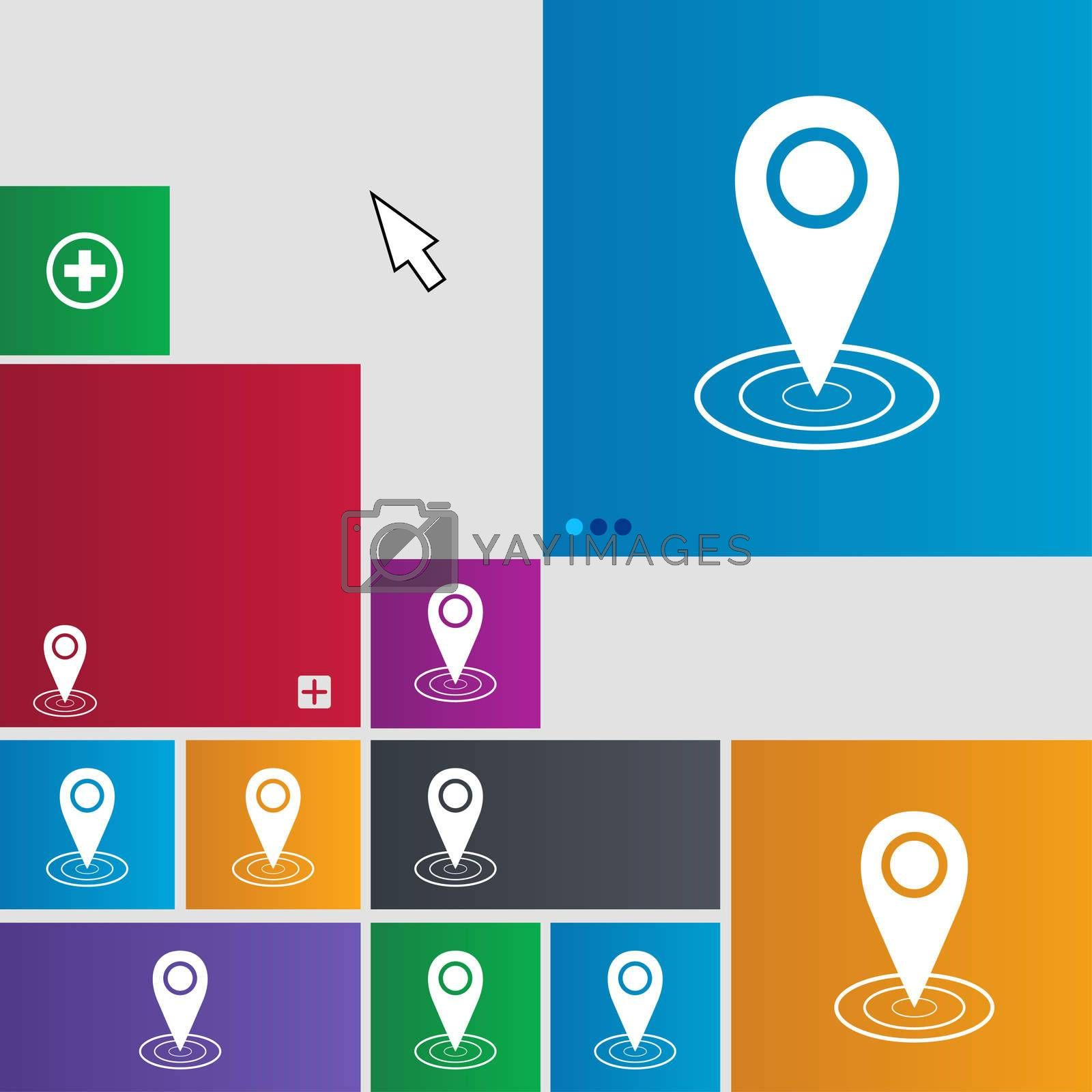 Map pointer icon sign. Metro style buttons. Modern interface website buttons with cursor pointer.  by Serhii Lohvyniuk