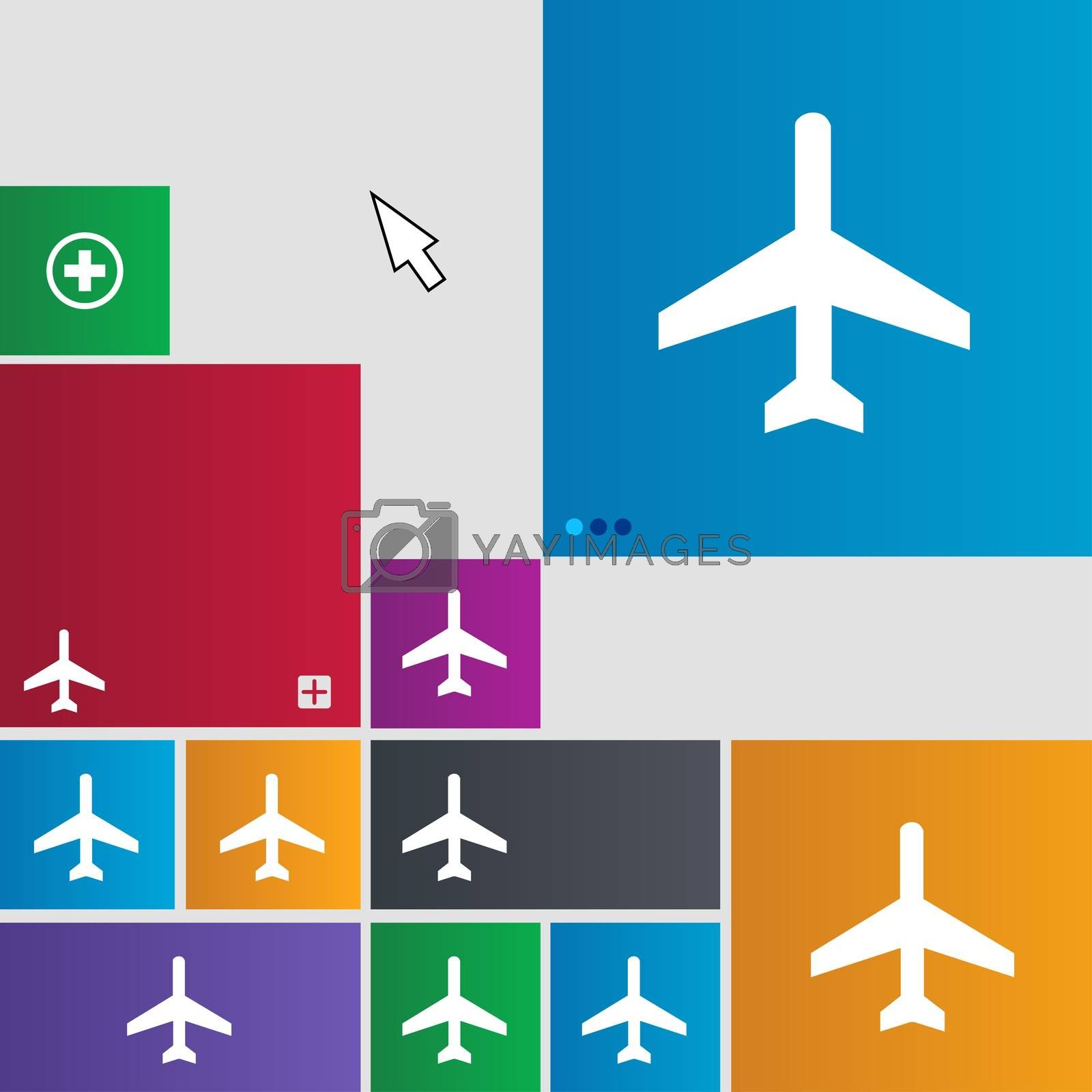 airplane icon sign. buttons. Modern interface website buttons with cursor pointer.  by Serhii Lohvyniuk