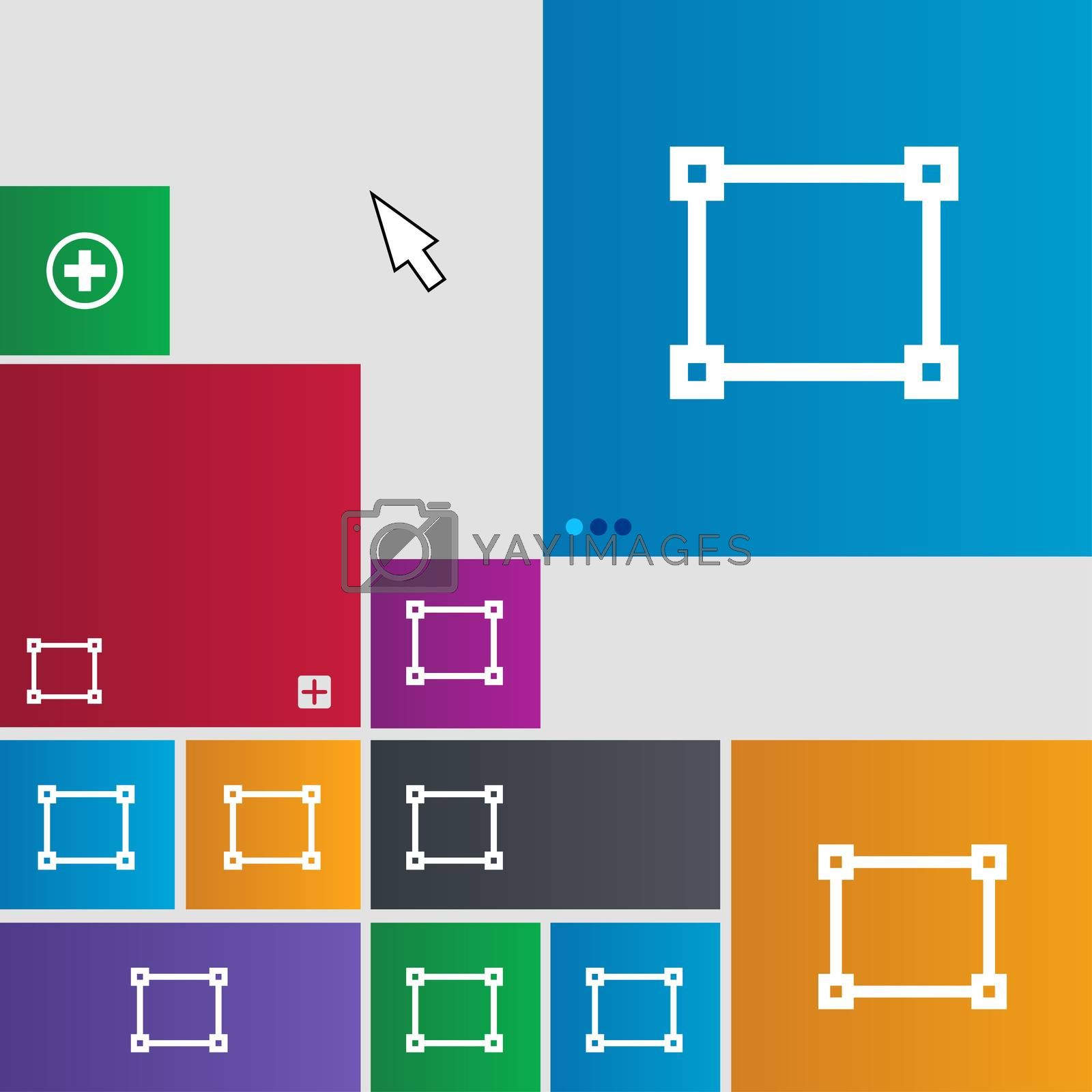 Crops and Registration Marks icon sign. Metro style buttons. Modern interface website buttons with cursor pointer.  by Serhii Lohvyniuk
