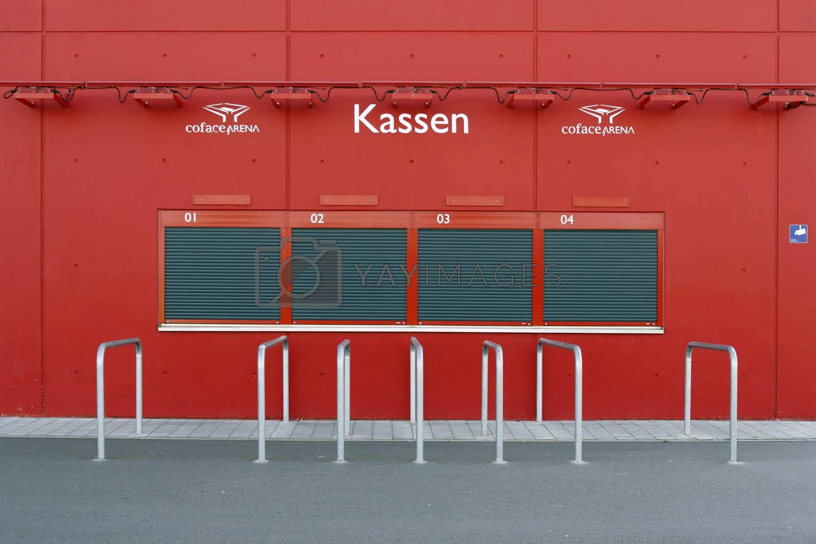 Mainz, Germany - May 17, 2014: Closed ticket booth or ticket sales desks at the Coface Arena stadium of the soccer club 1. FSV Mainz 05 on May 17, 2014 in Mainz.