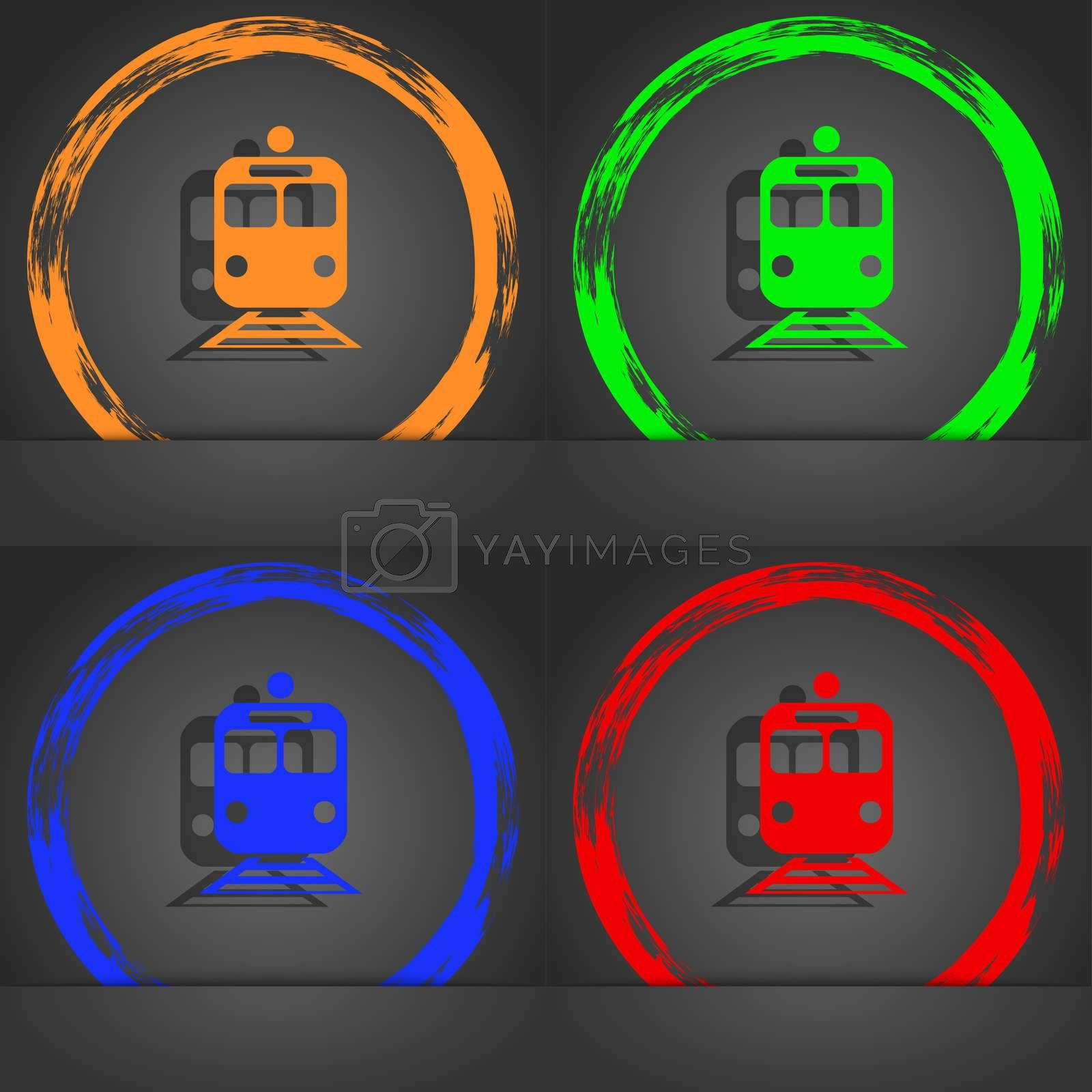 train icon symbol. Fashionable modern style. In the orange, green, blue, green design. illustration