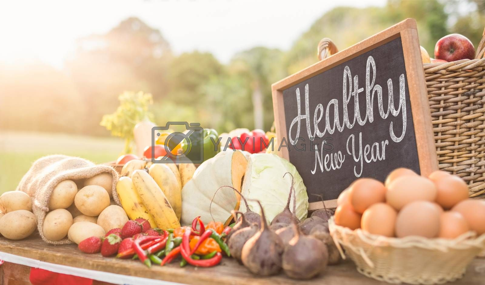 Healthy New Year against vegetables at farmers market