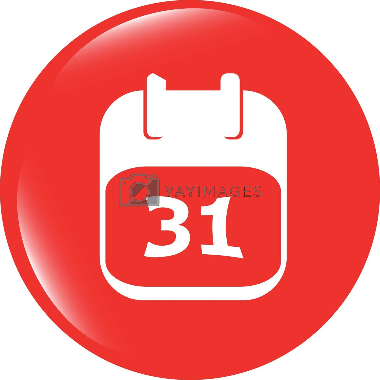 vector calendar apps icon glossy button. day 31