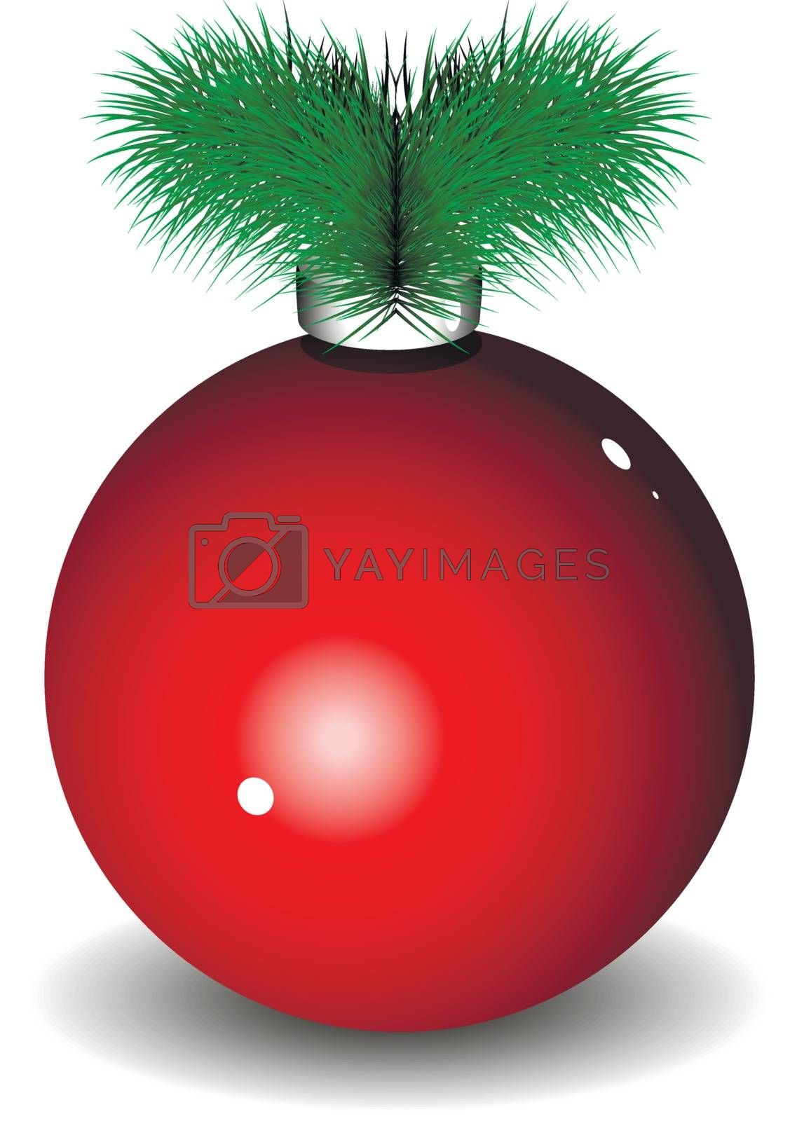 Illustration of a red New Year ball with Christmas tree