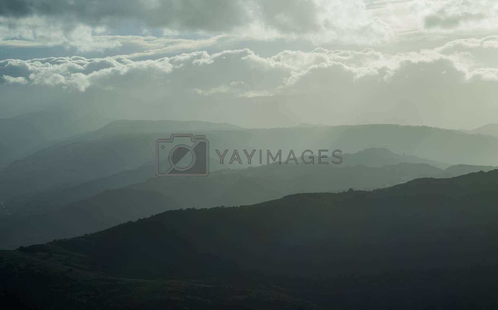 mountains silhouette with fog, natural daily light tint