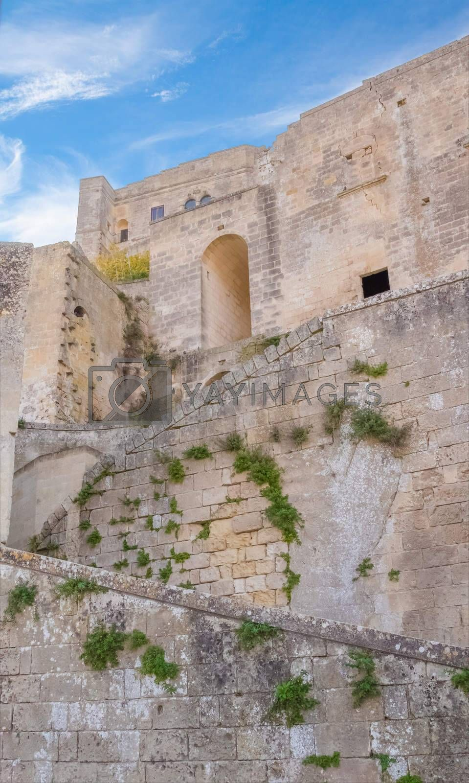 historic building in Matera in Italy UNESCO European Capital of Culture 2019, details of old wall and stairs