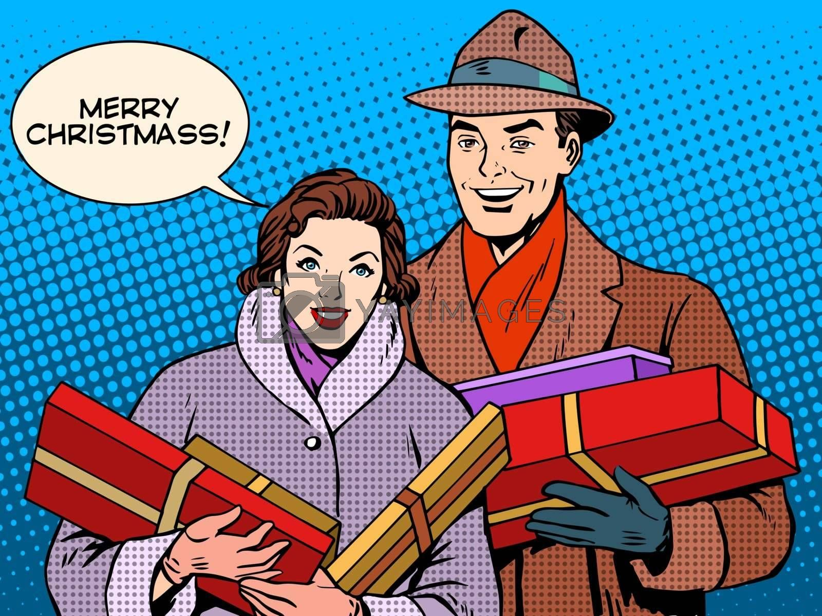 Happy couple with Christmas gifts pop art retro style. Christmas sale. Family love relations