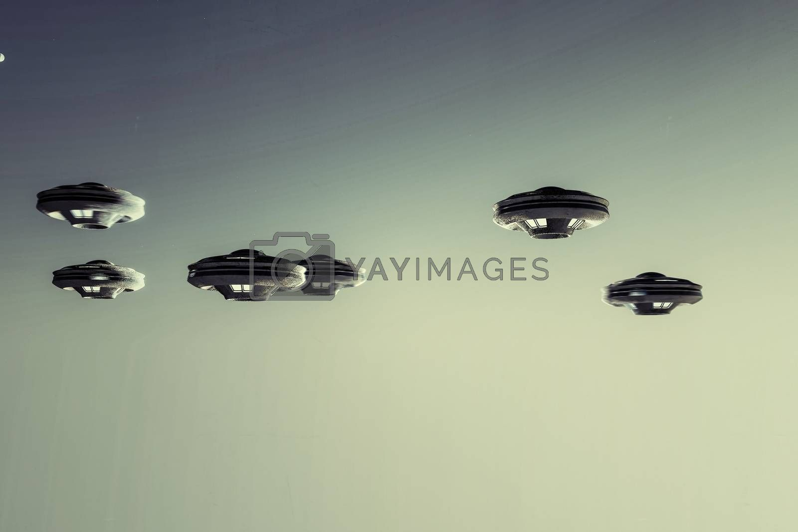 ufo spaceships flying in the sky