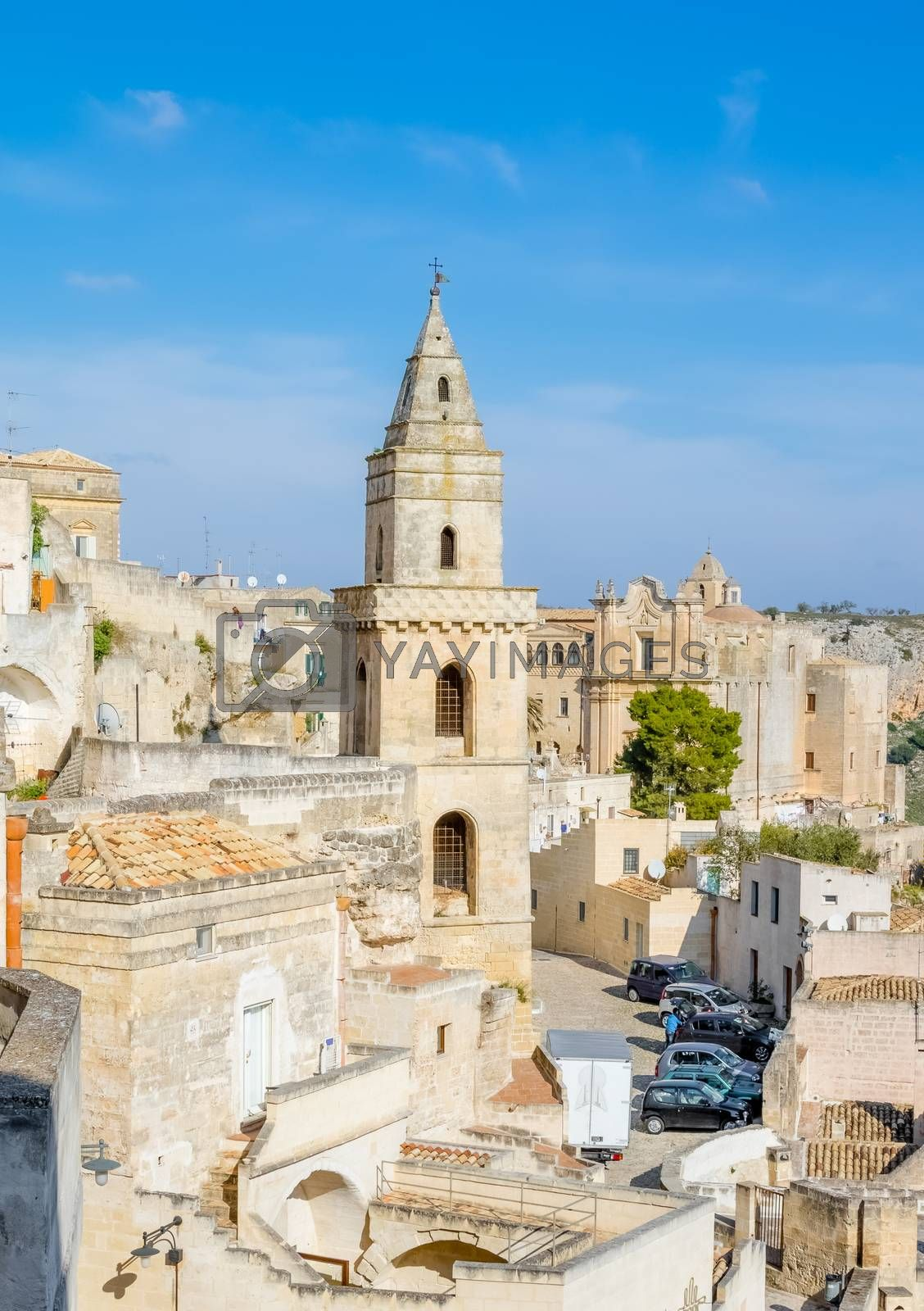 panoramic view of typical church of Matera UNESCO European Capital of Culture 2019 under blue sky. Basilicata, Italy