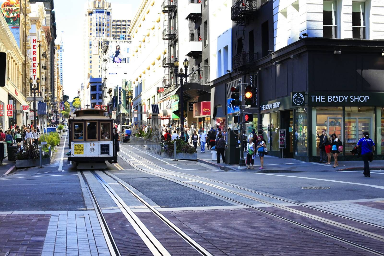 San Fransisco , CA, USA - September 28, 2013: Old tram - It is the most popular way to get around the city of San Fransisco which is in service since 1873.