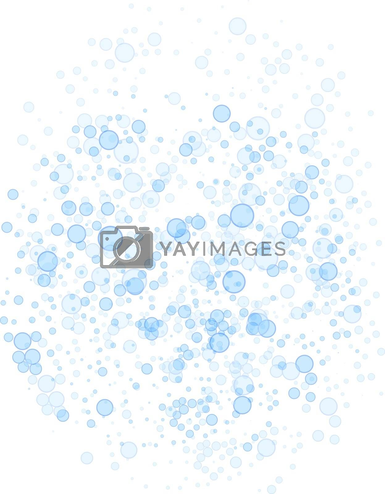 Abstract vector blue soap bubbles bathroom background