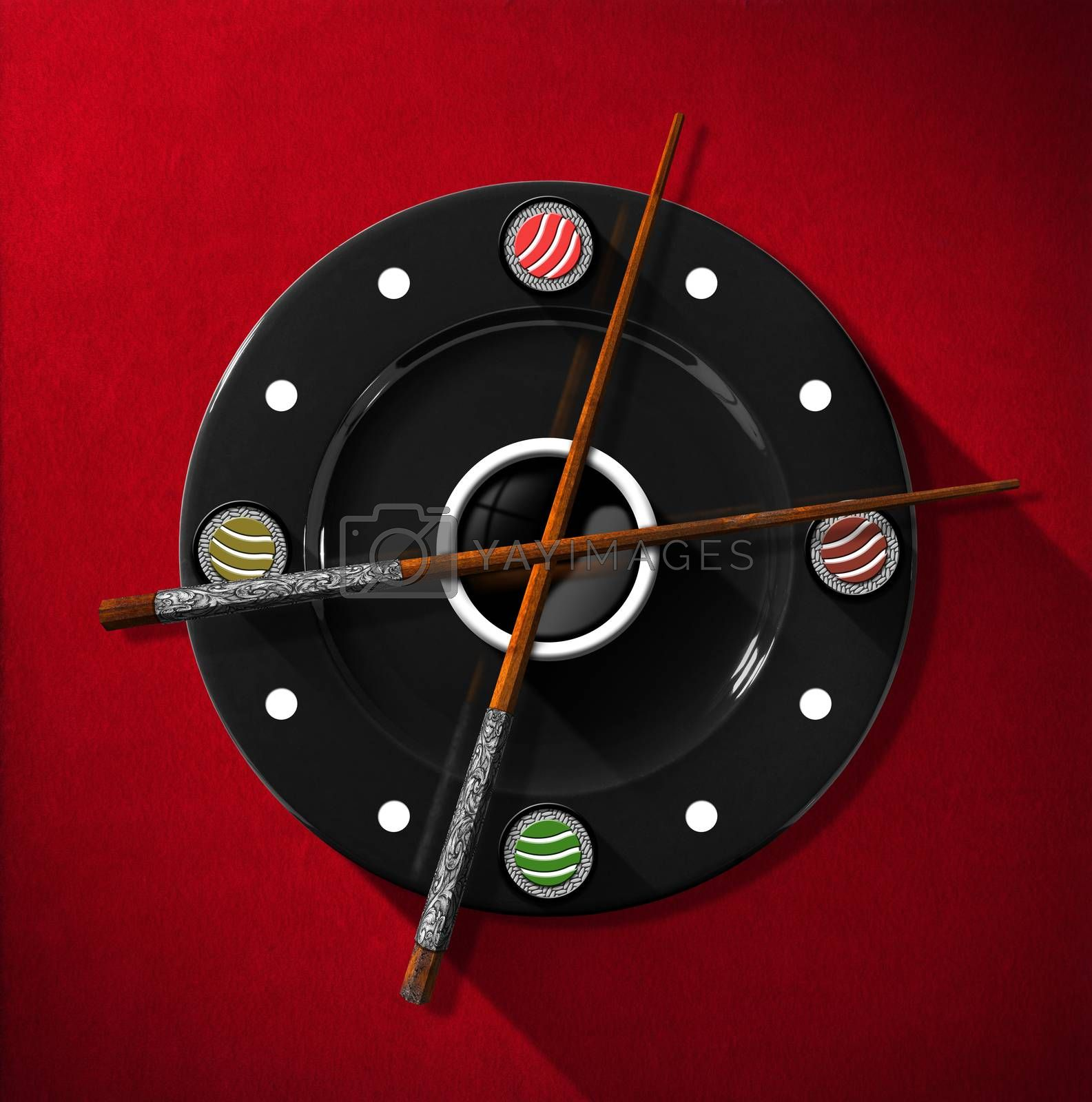 Clock composed by a black plate with wooden and silver chopsticks in the place of the clock hands and four sushi rolls. On a red velvet background