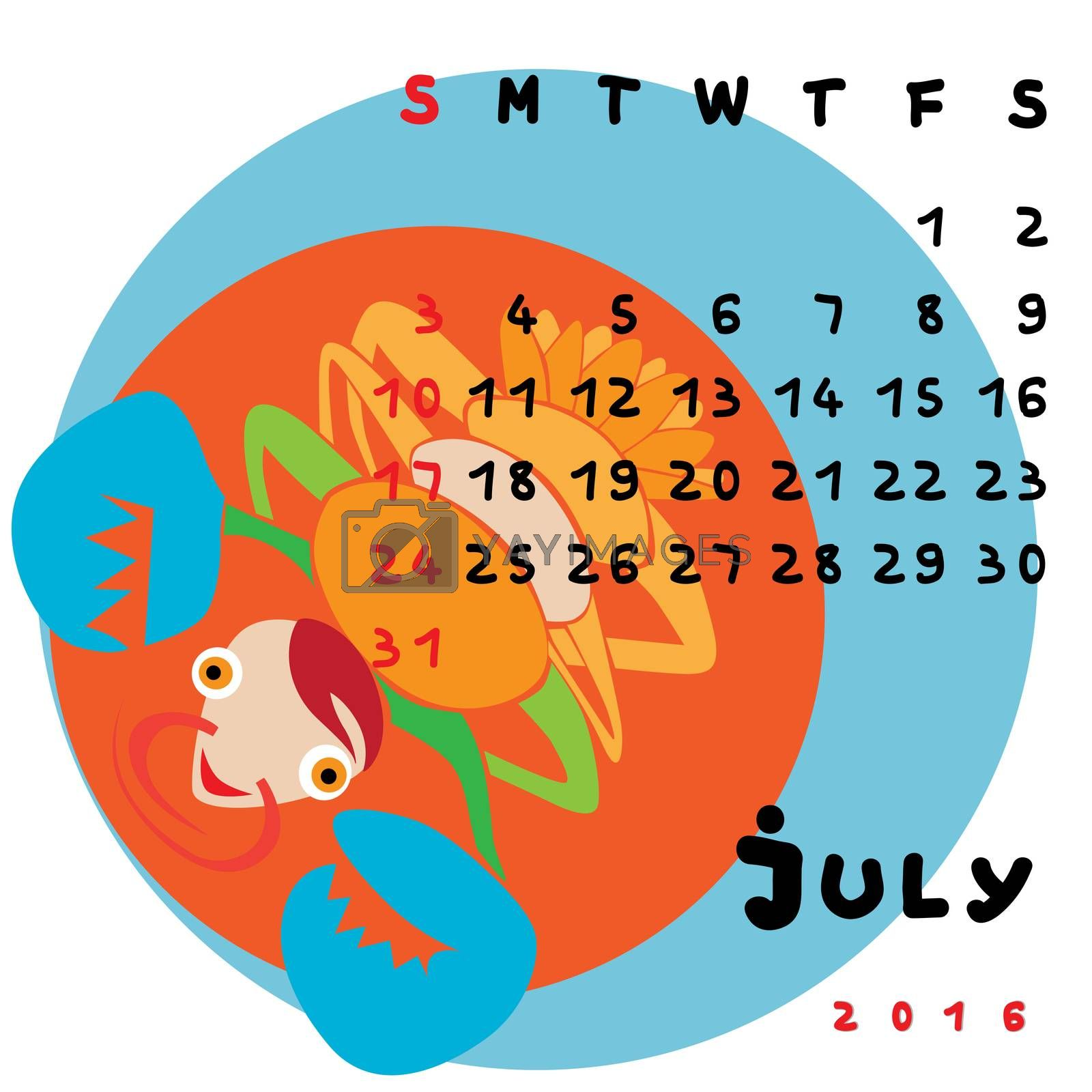 Graphic illustration of the calendar of July 2016 with original hand drawn text and colored clip art of Cancer zodiac sign