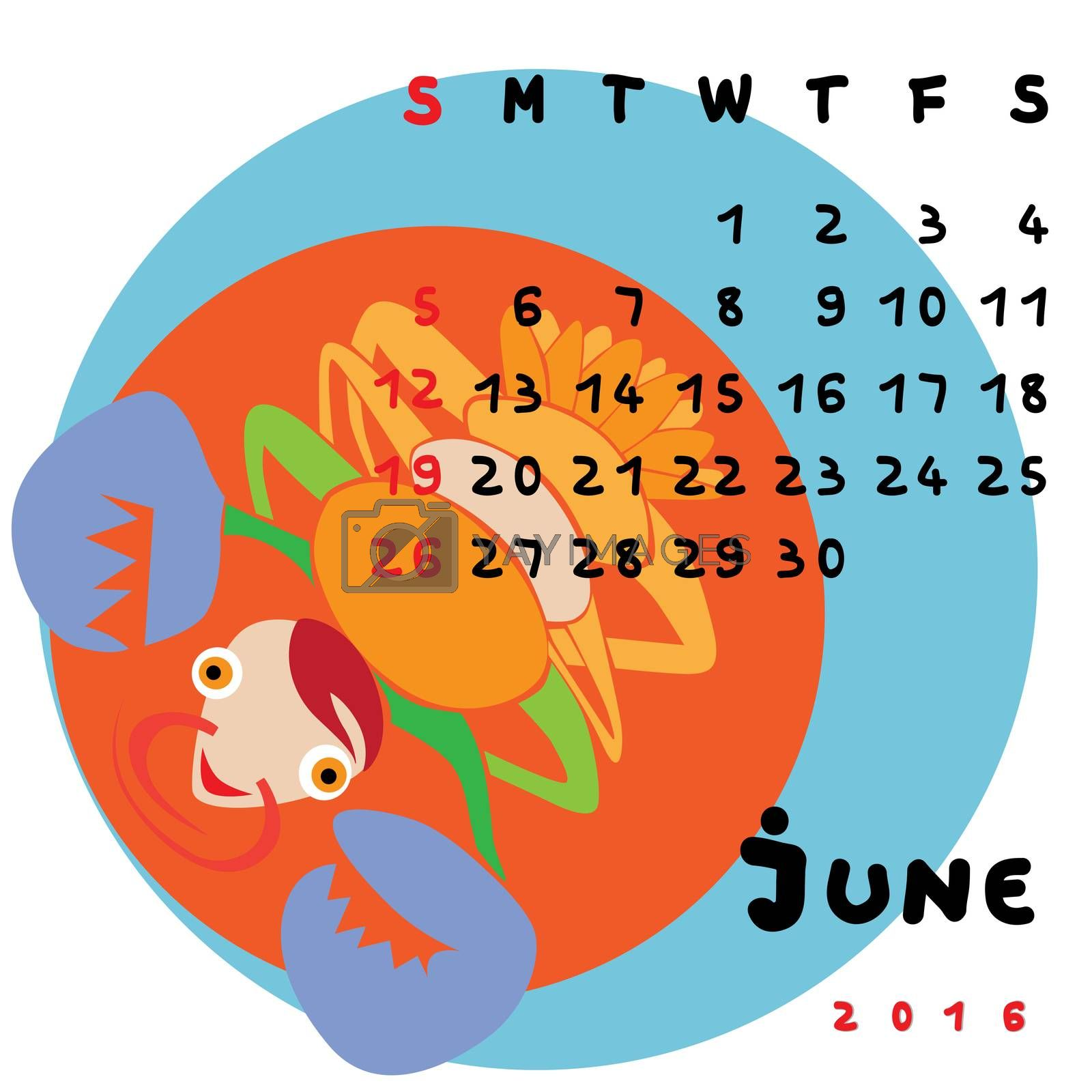 Graphic illustration of the calendar of June 2016 with original hand drawn text and colored clip art of Cancer zodiac sign