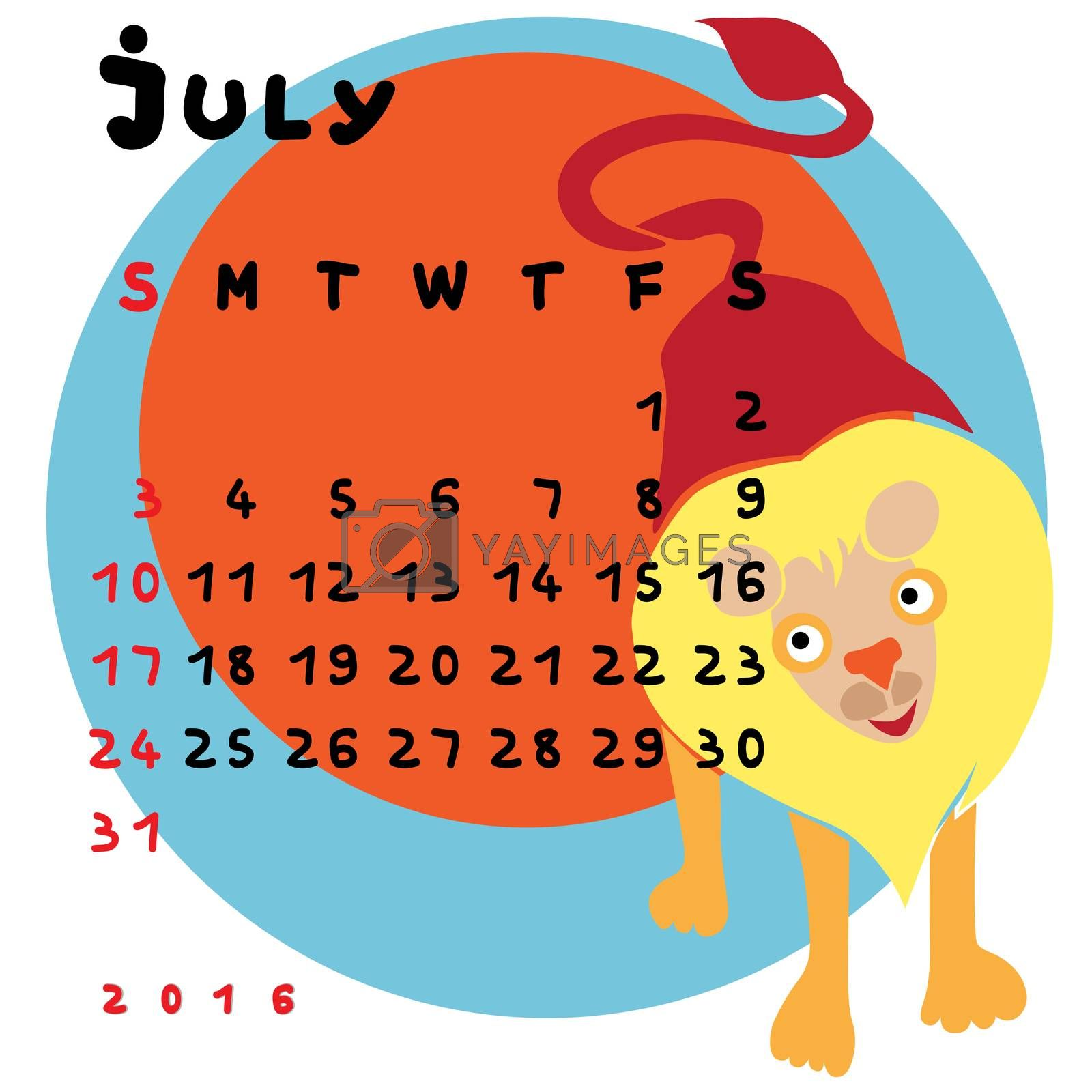 Graphic illustration of the calendar of JUly 2016 with original hand drawn text and colored clip art of Leo zodiac sign