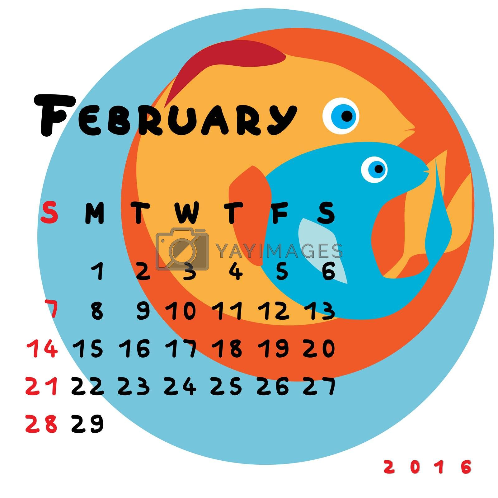 Graphic illustration of the calendar of March 2016 with original hand drawn text and colored clip art of Pisces zodiac sign