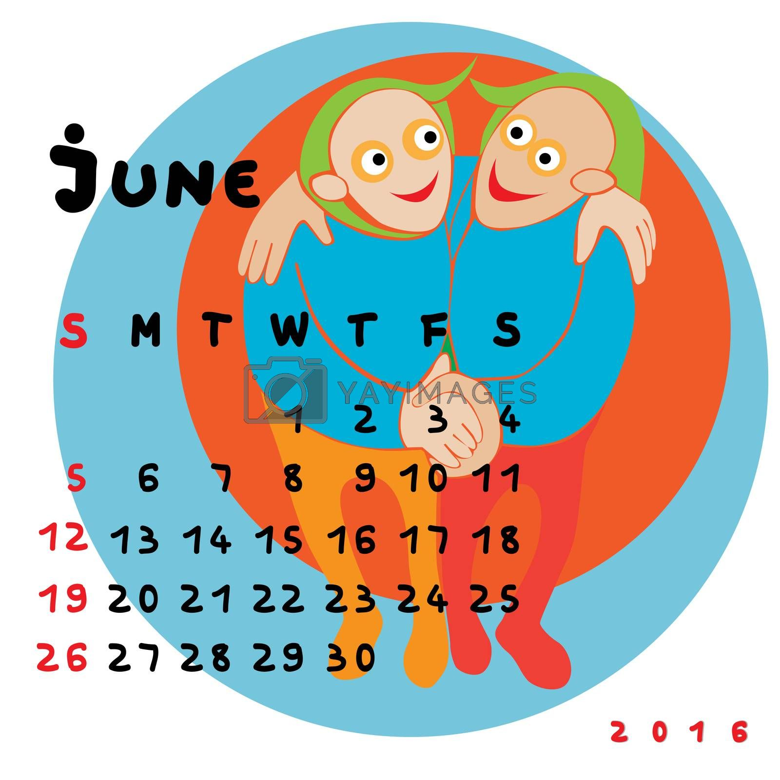 Graphic illustration of the calendar of June 2016 with original hand drawn text and colored clip art of Gemini zodiac sign