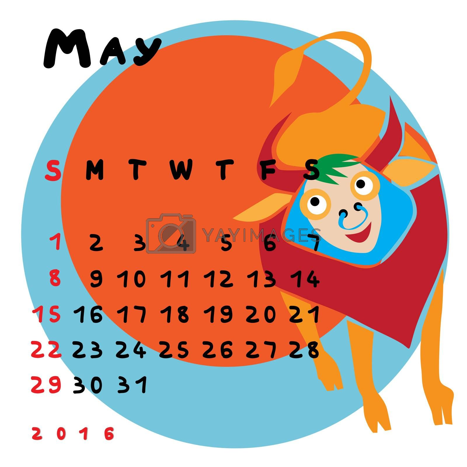 Graphic illustration of the calendar of May 2016 with original hand drawn text and colored clip art of Taurus zodiac sign