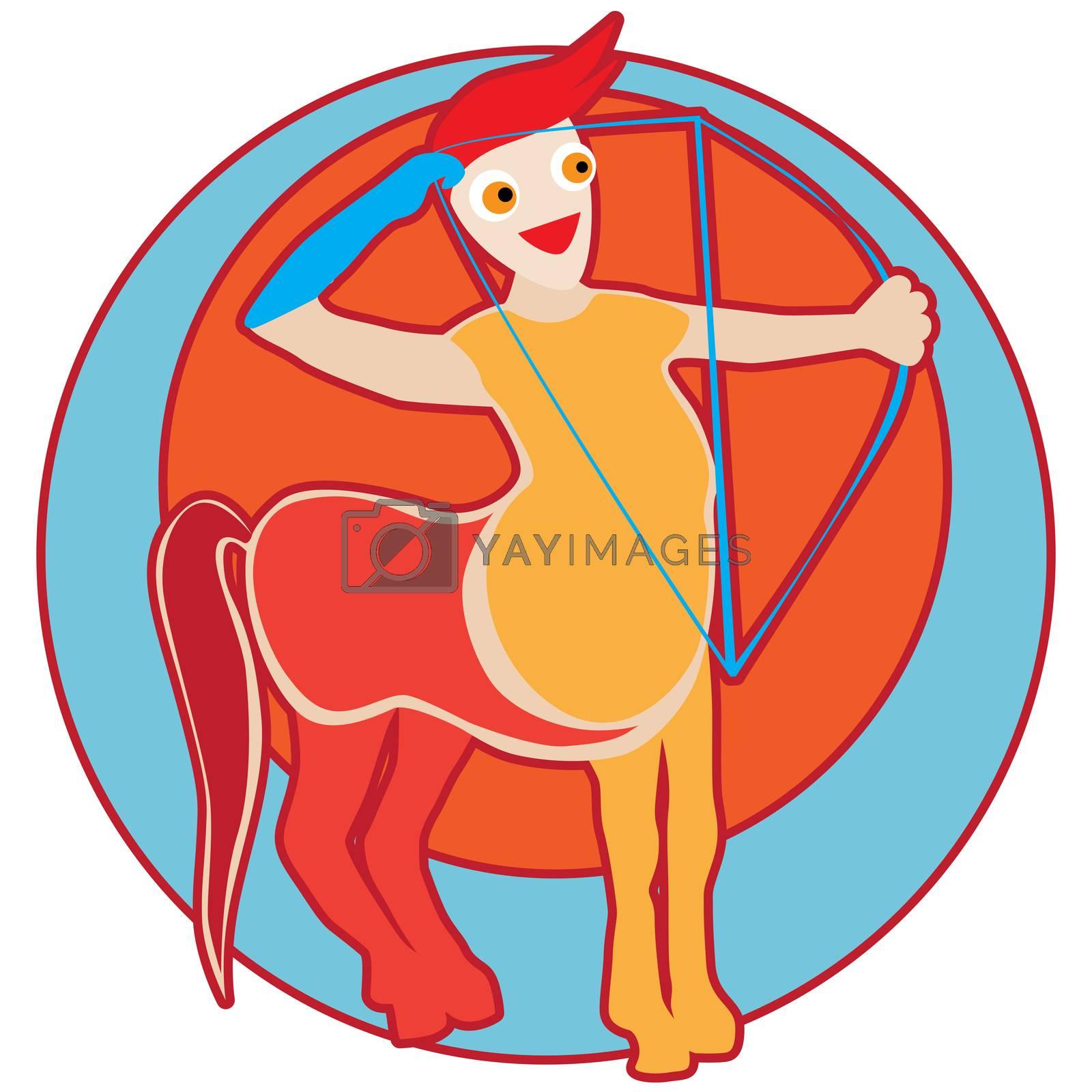 Happy Sagittarius sticker, clip-art hand drawn illustration of a cheerful cartoon character isolated on white