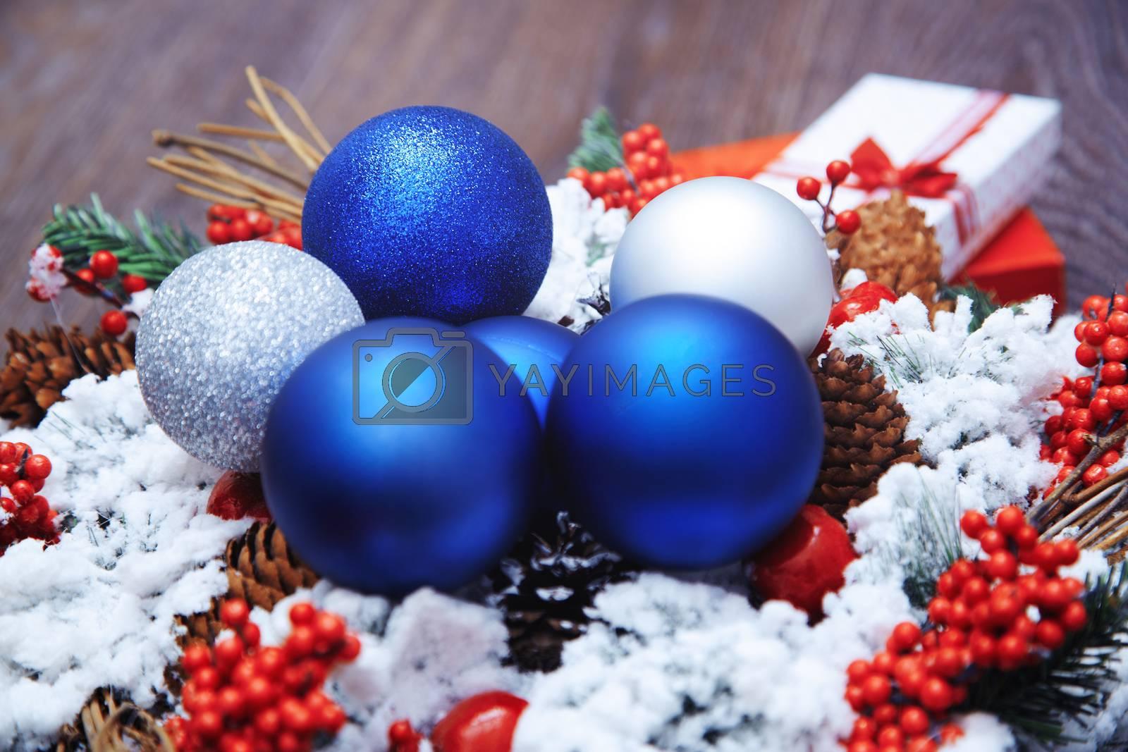 Christmas wreath and toys. Close-up horizontal photo