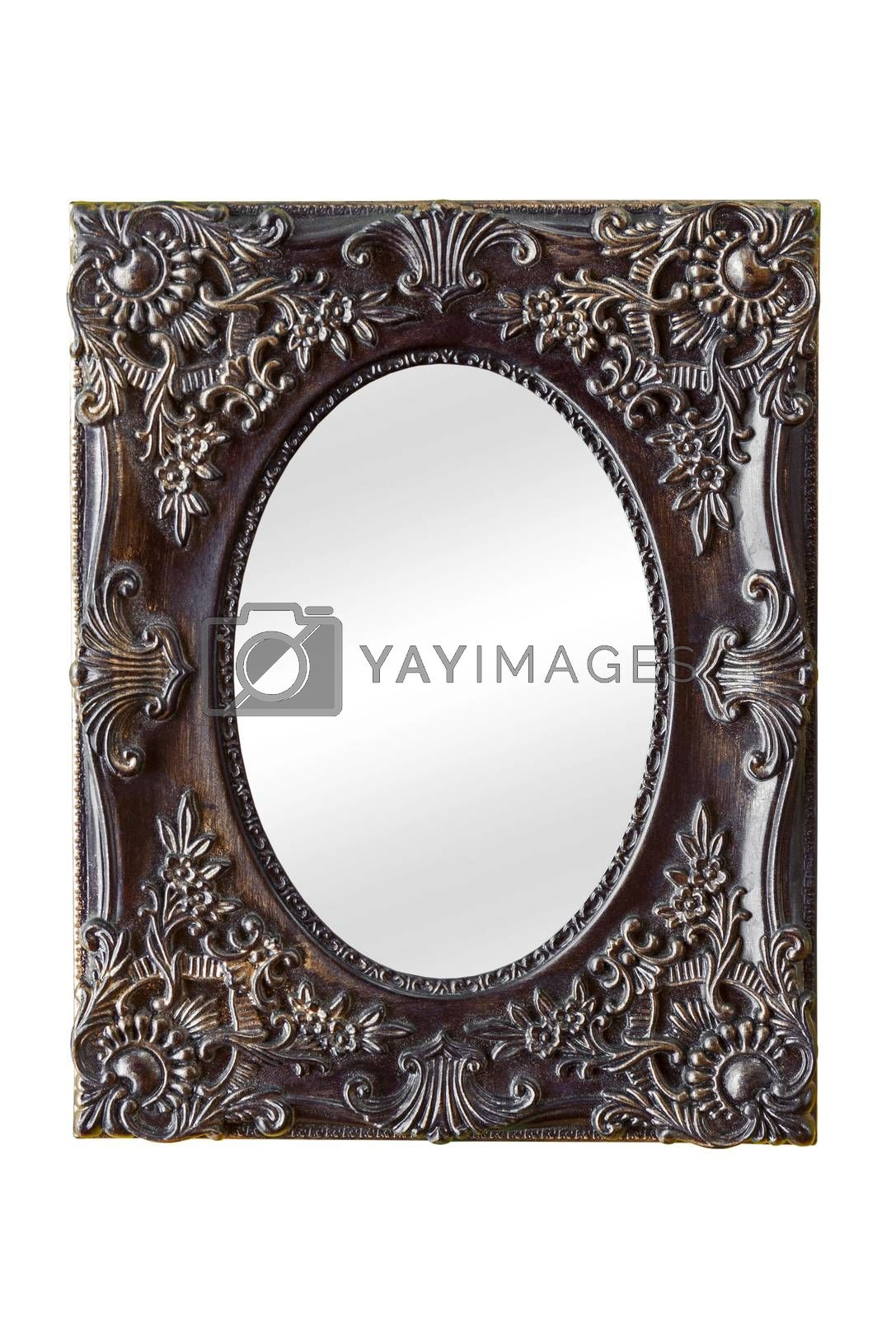 Old classic style mirror with vintage decorated frame isolated on white background