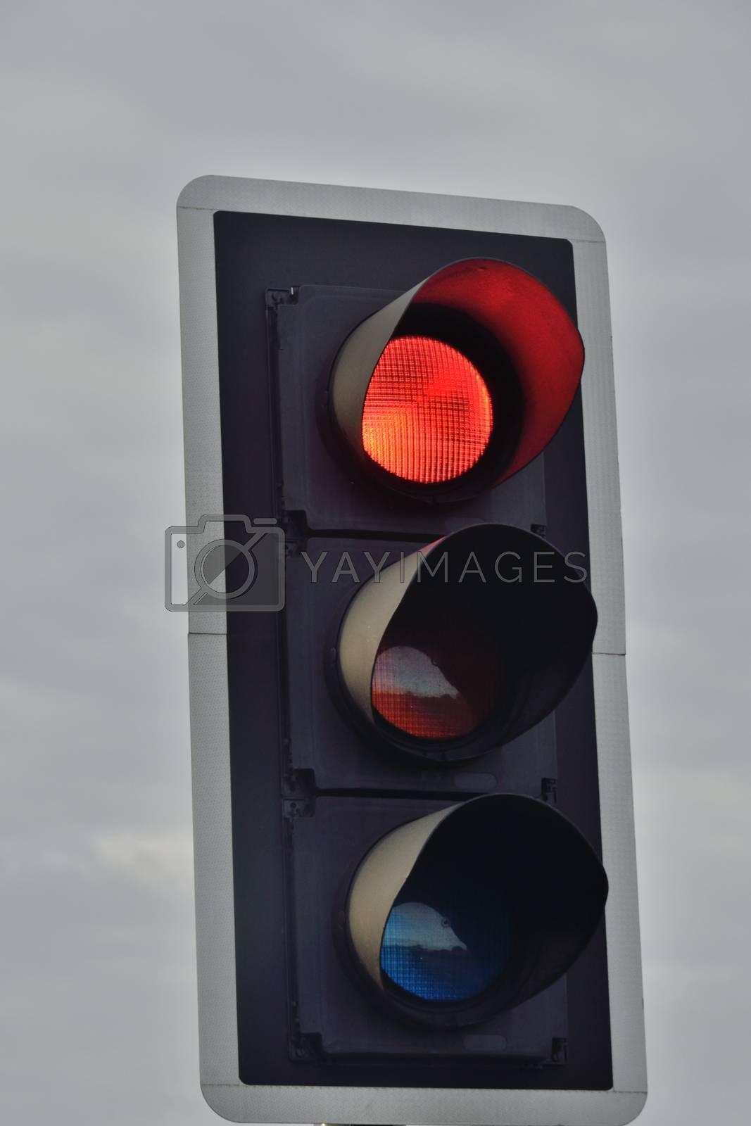 UK traffic signal set at red