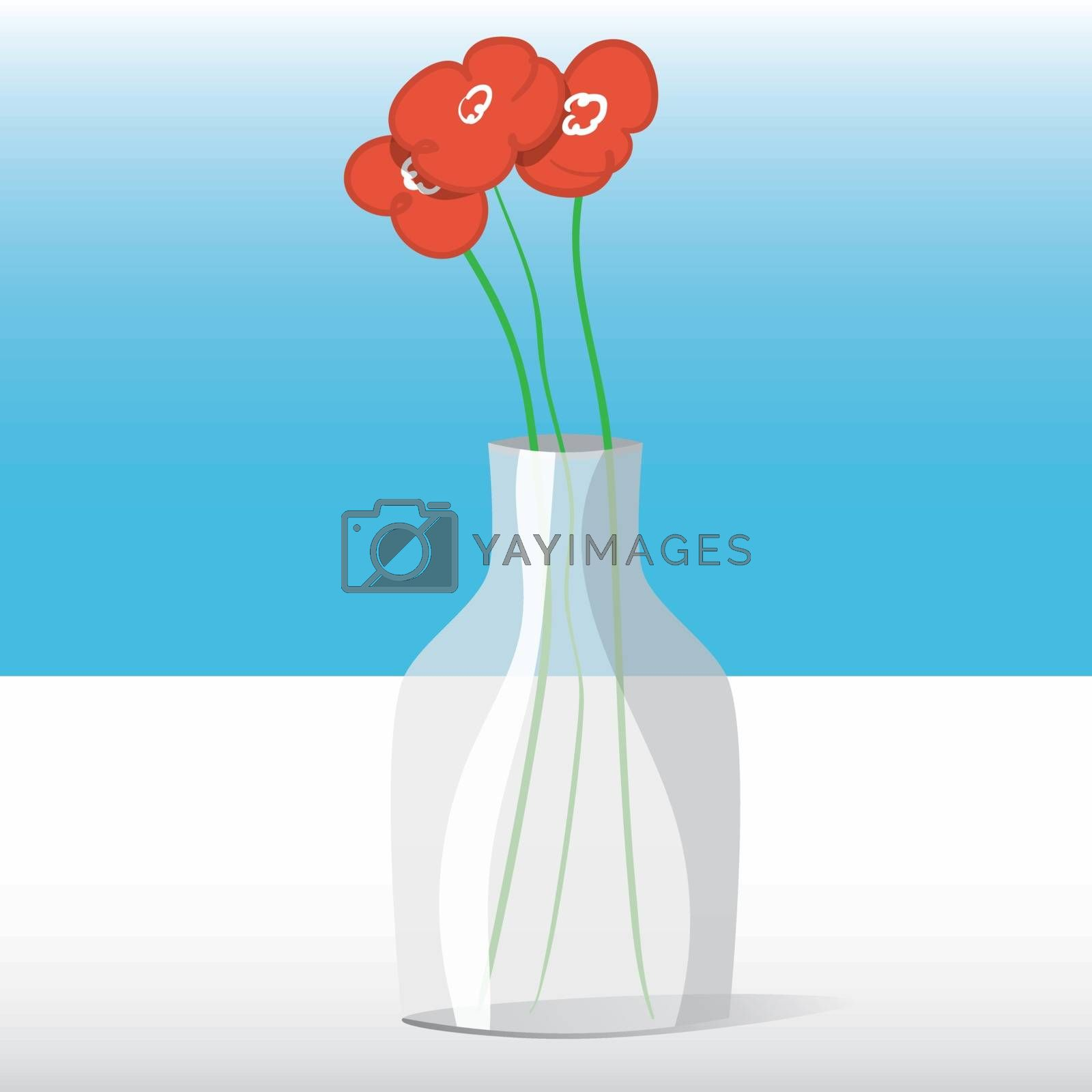 Three red flowers in a glass jar on a white table