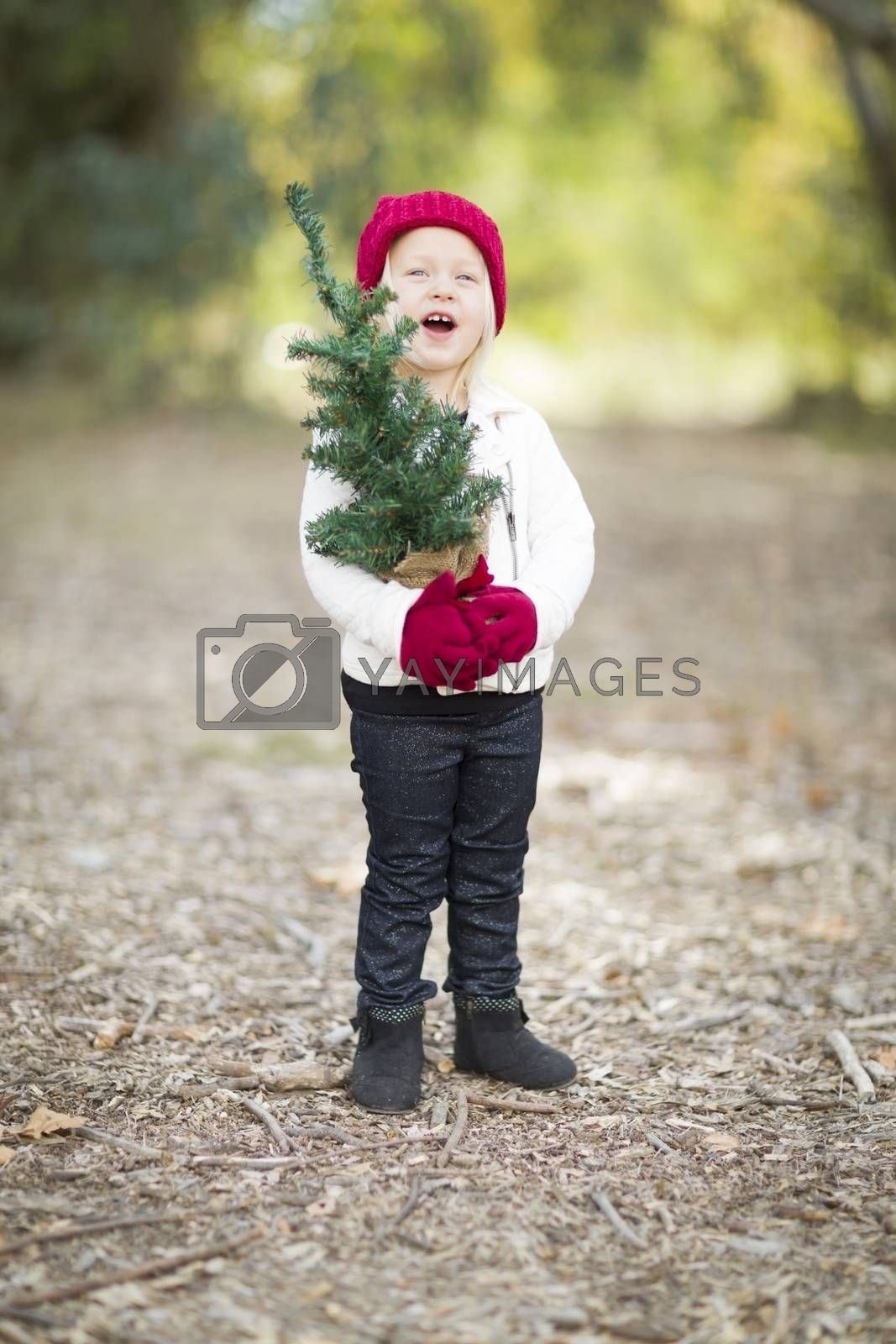 Baby Girl In Red Mittens and Cap Holding Small Christmas Tree Outdoors.