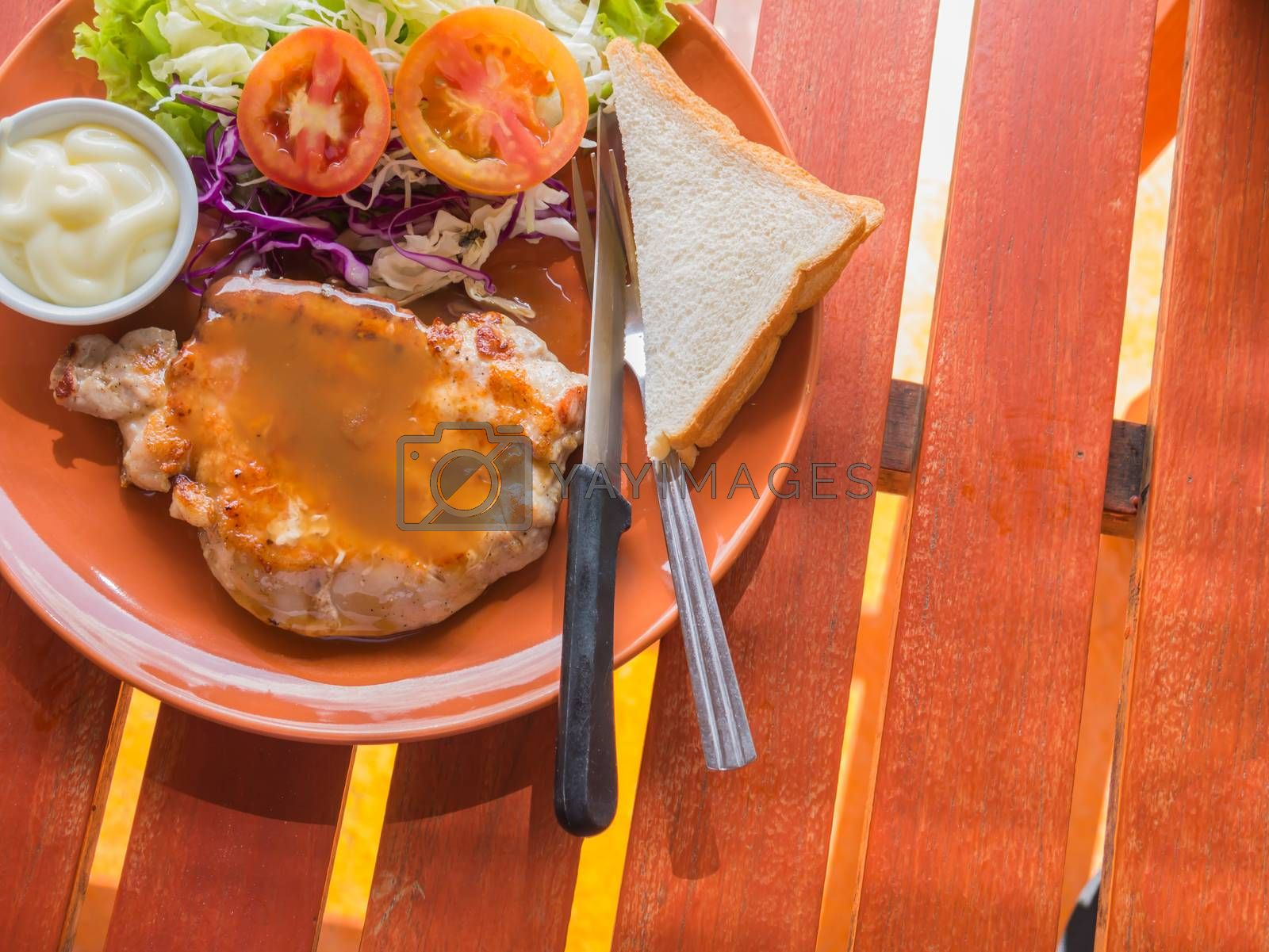 Royalty free image of Grilled steak and vegetable salad by nikky1972