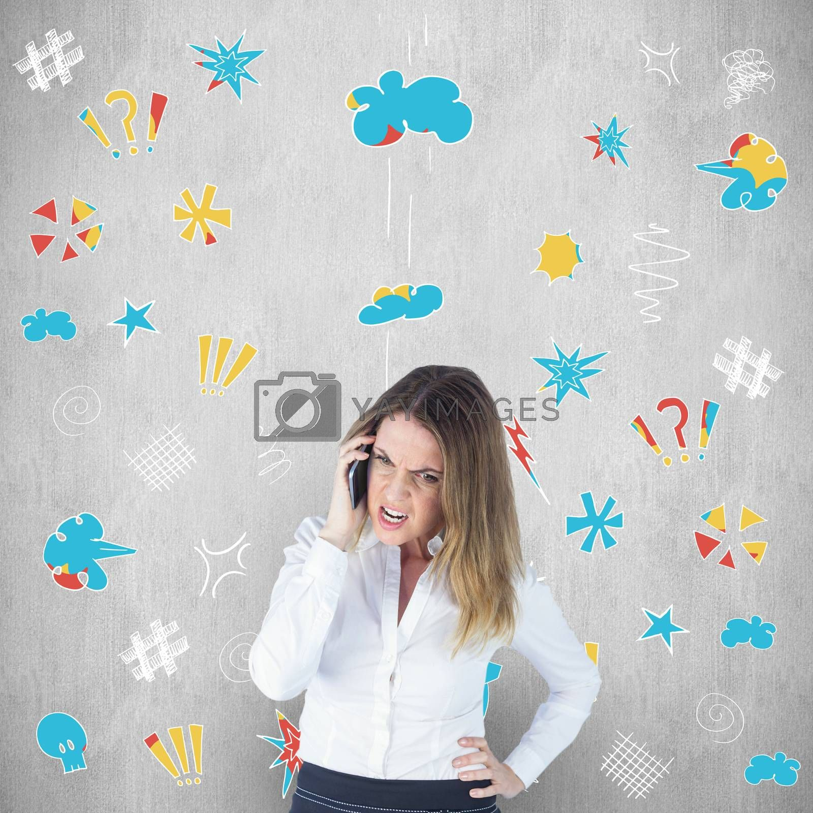 Angry businesswoman talking on mobile phone against white background