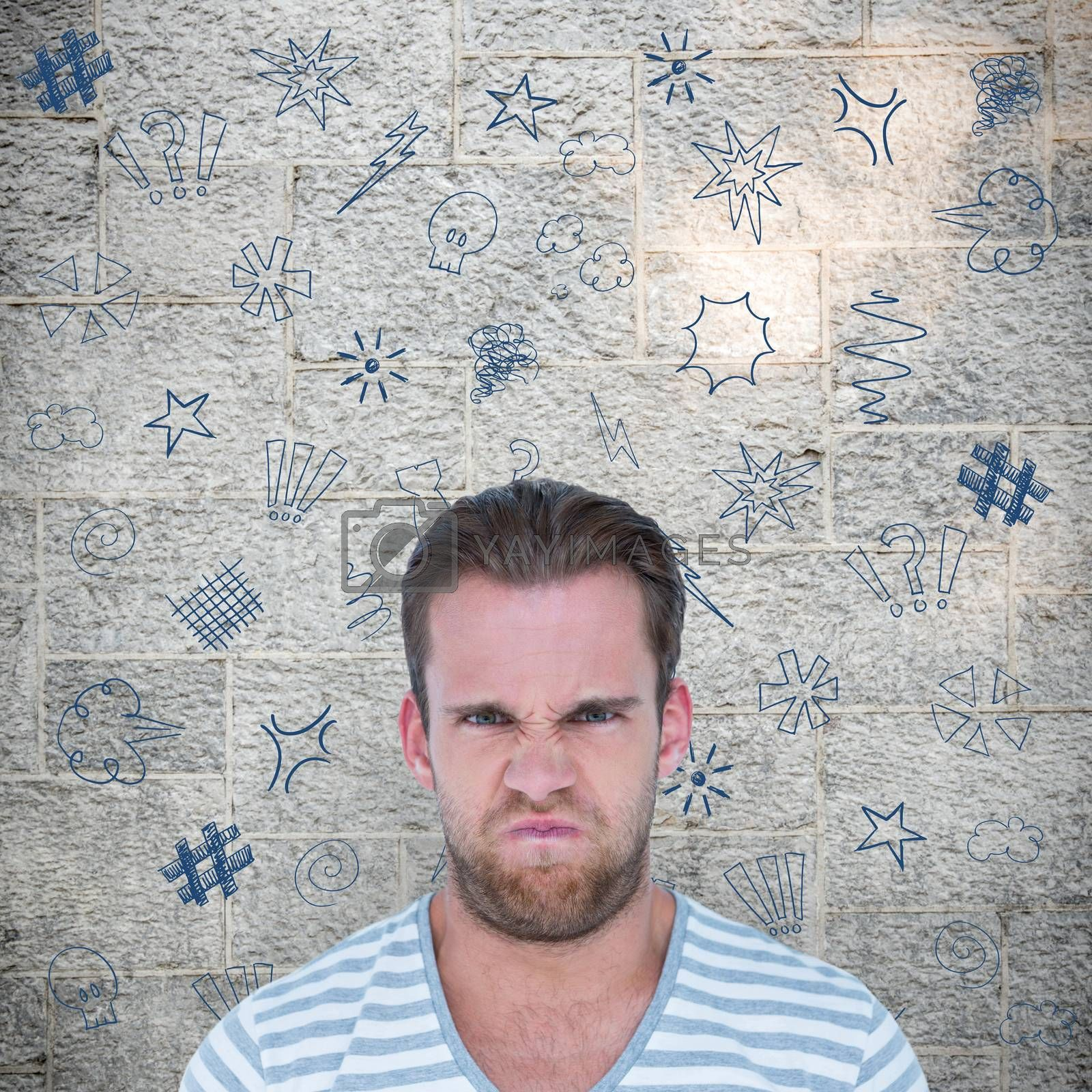 Angry man over white background against grey