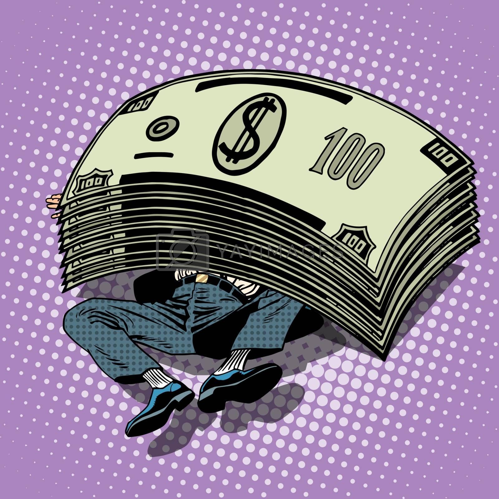 Businessman buried money wealth financial success pop art retro style. Millionaire under the stack of dollars. Business profits