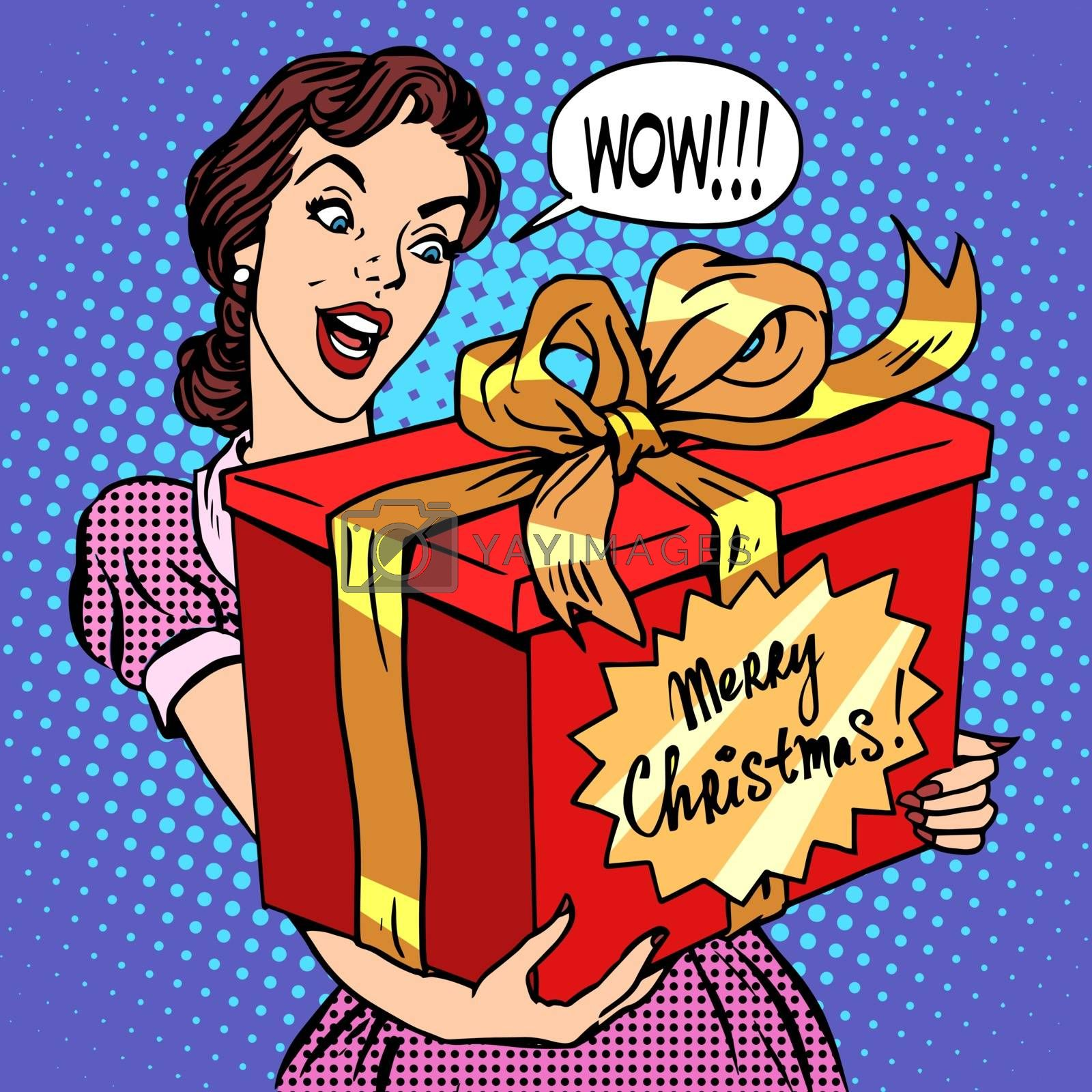Woman with Christmas gift pop art retro style. Beautiful girl with a big red box with the words merry Christmas. Celebrations and congratulations. Family and joy