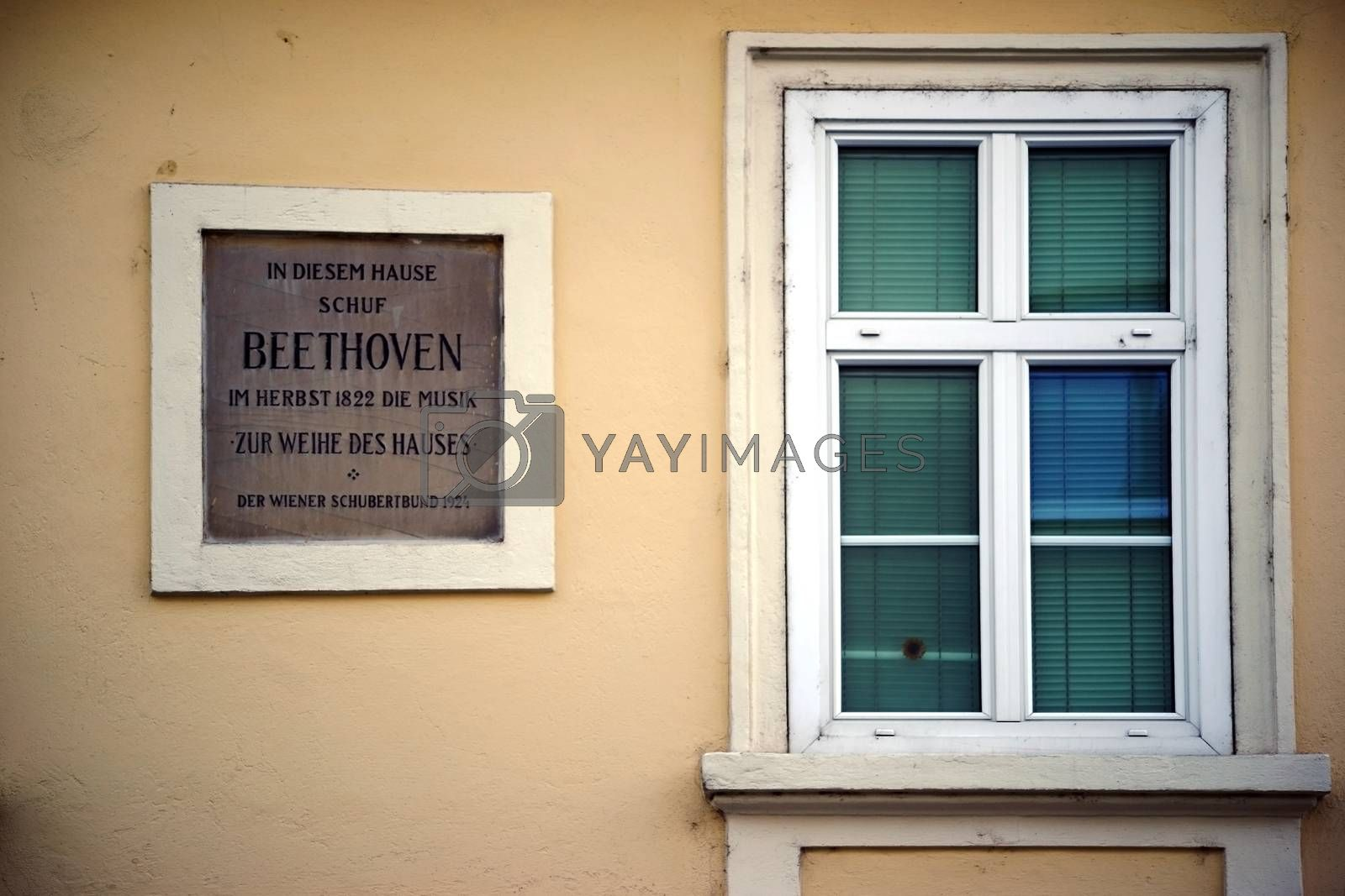 Baden, Austria - November 14, 2015: A nostalgic plate and an old window of the Beethoven House on November 14, 2015 in Baden near Vienna.